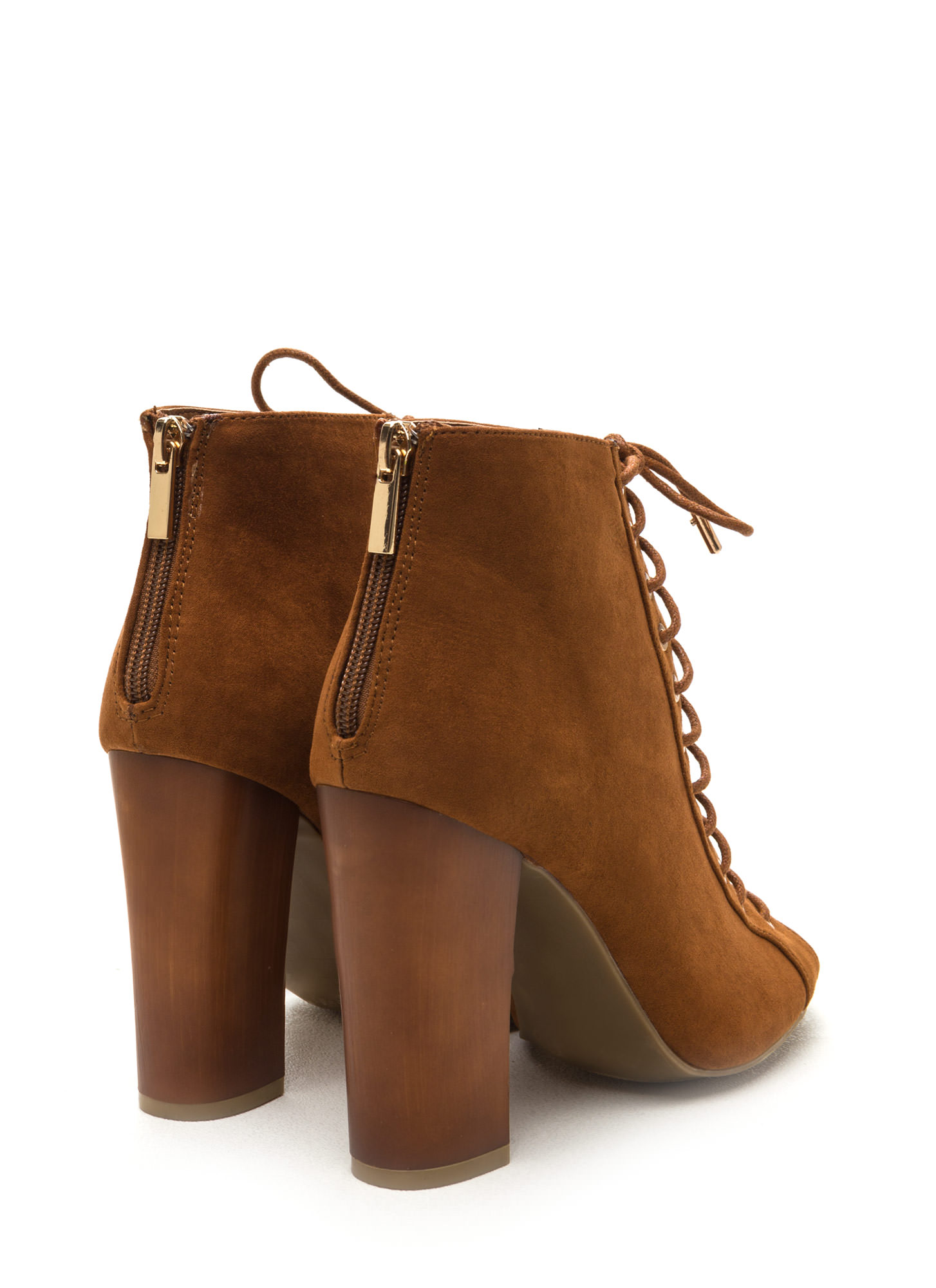 Sunday Funday Faux Suede Booties CHESTNUT