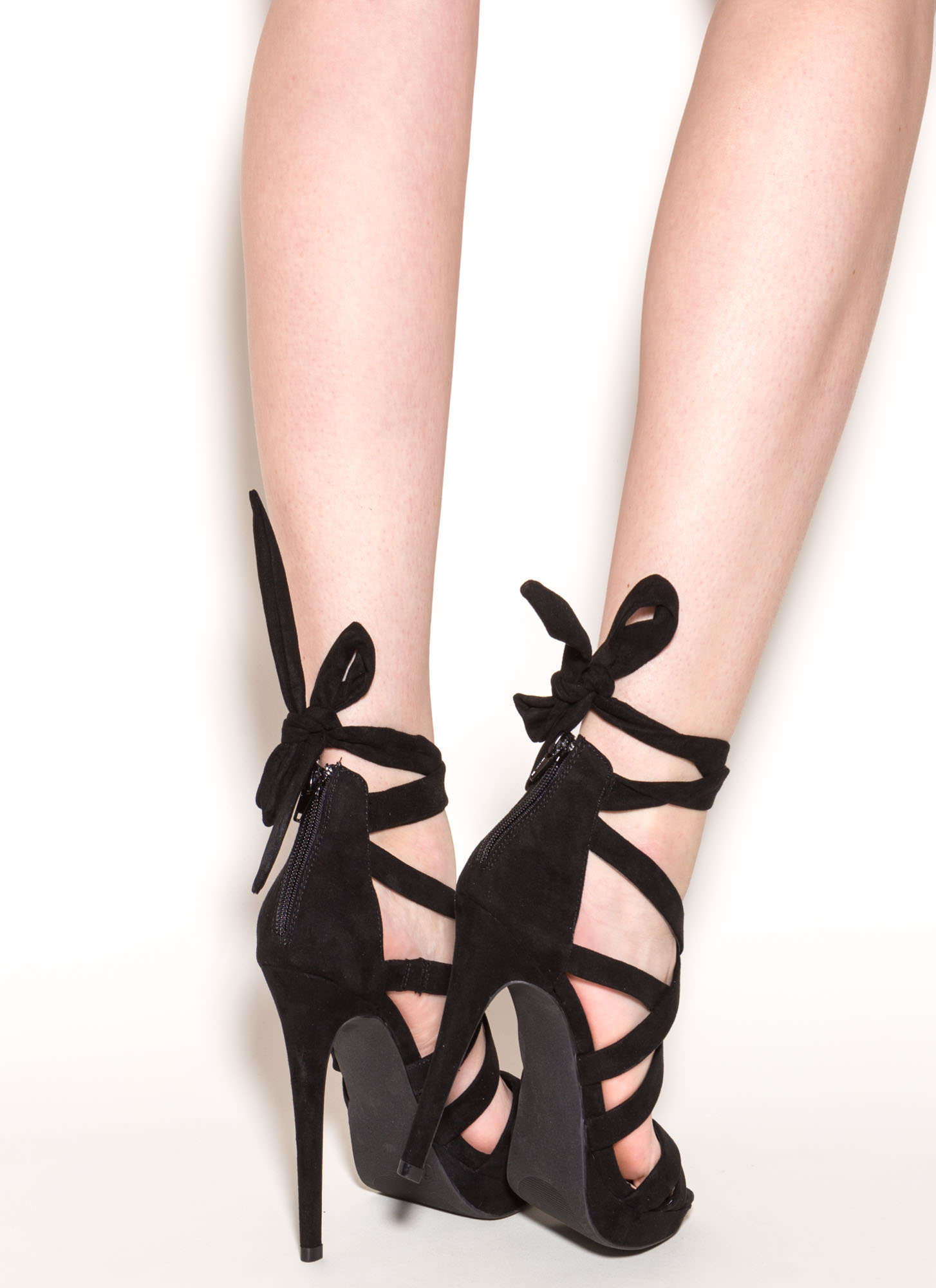 X Games Strappy Caged Faux Suede Heels BLACK