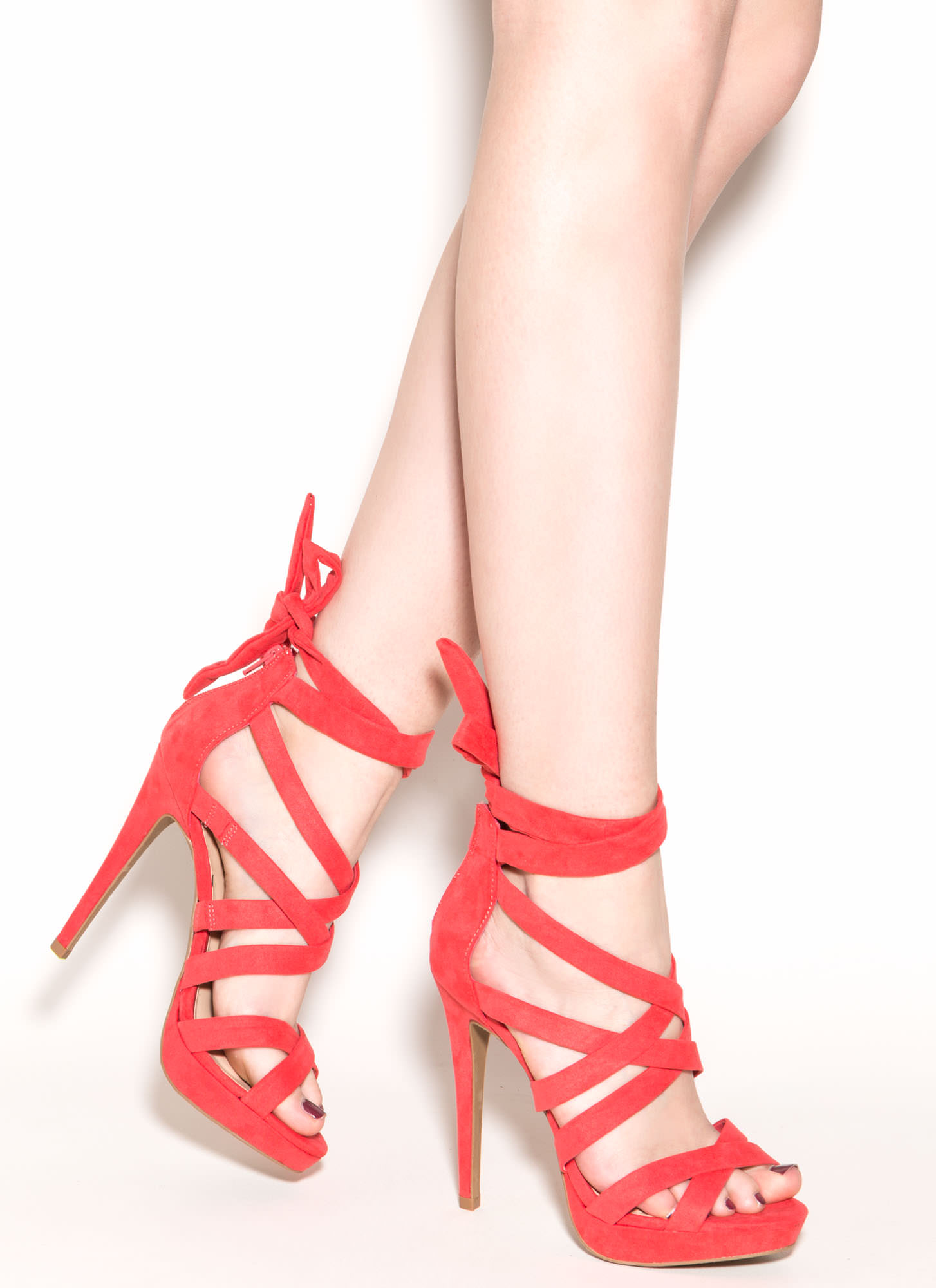 X Games Strappy Caged Faux Suede Heels HOTCORAL