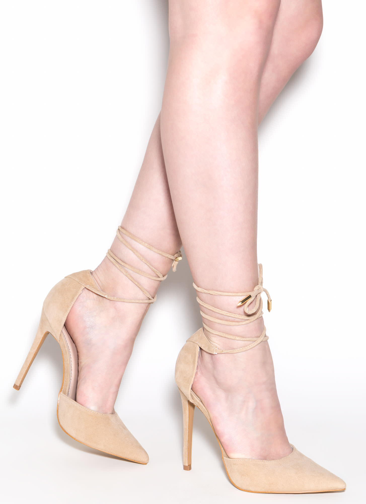 Pretty Promenade Pointy Lace-Up Heels NUDE