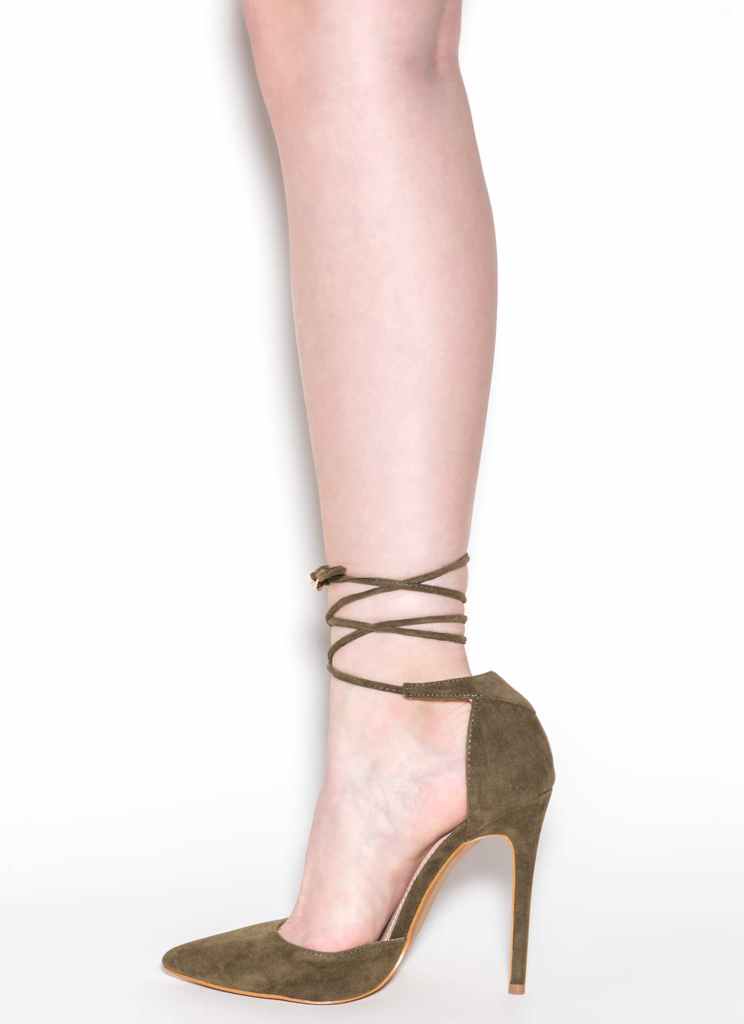 Pretty Promenade Pointy Lace-Up Heels OLIVE