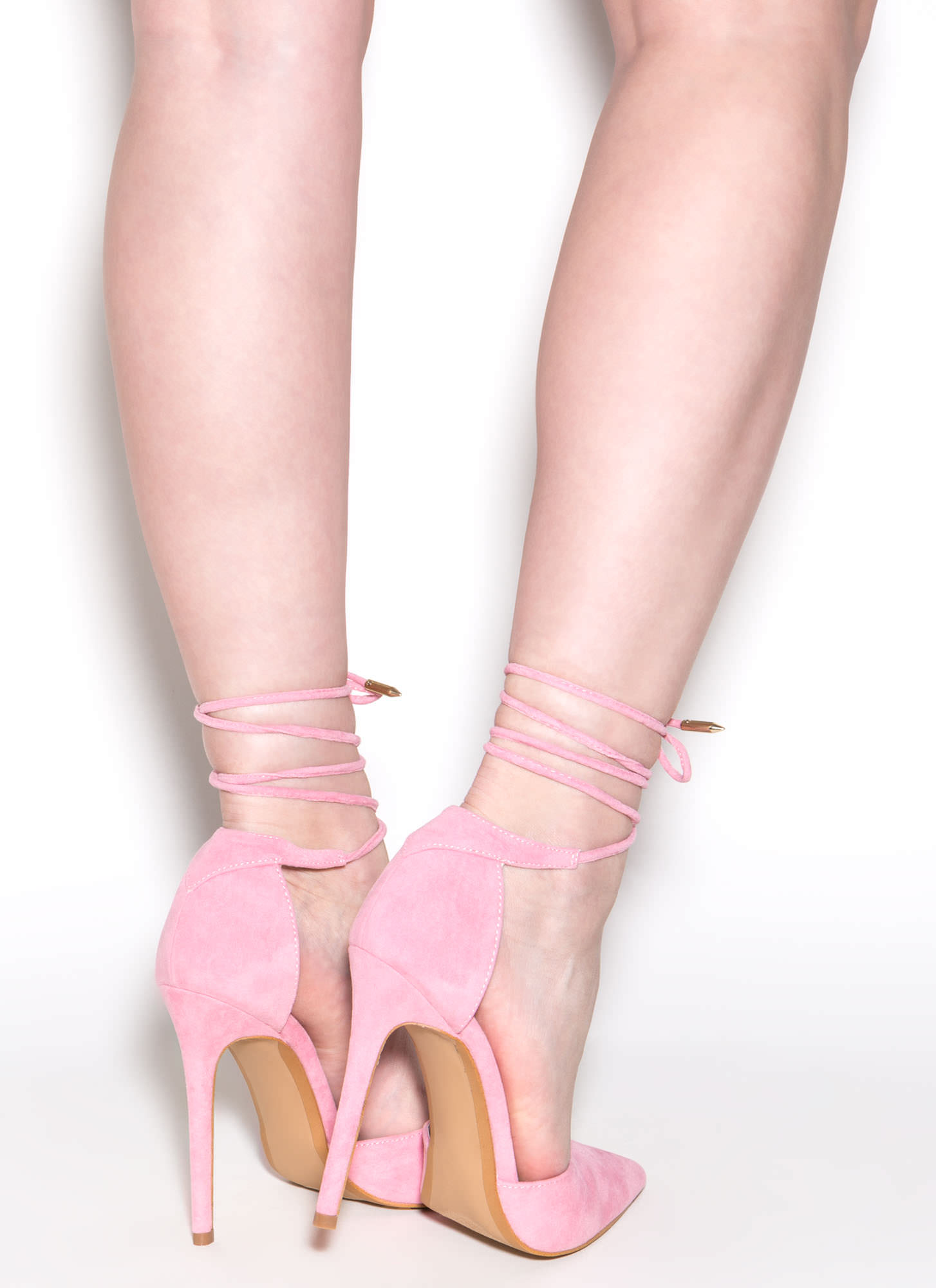 Pretty Promenade Pointy Lace-Up Heels PINK