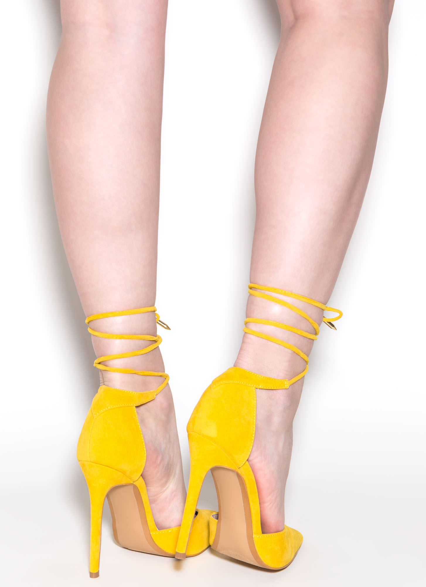 Pretty Promenade Pointy Lace-Up Heels YELLOW