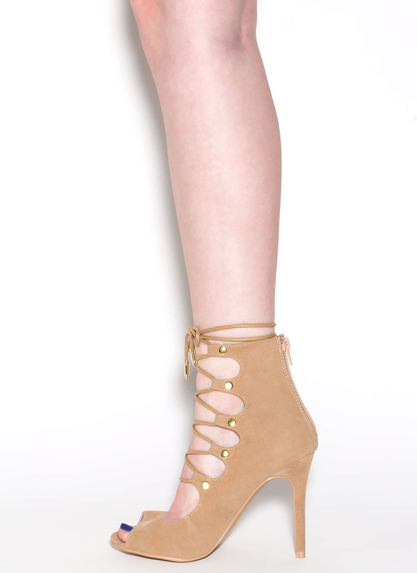 Save The Last Dance Lace-Up Heels CAMEL