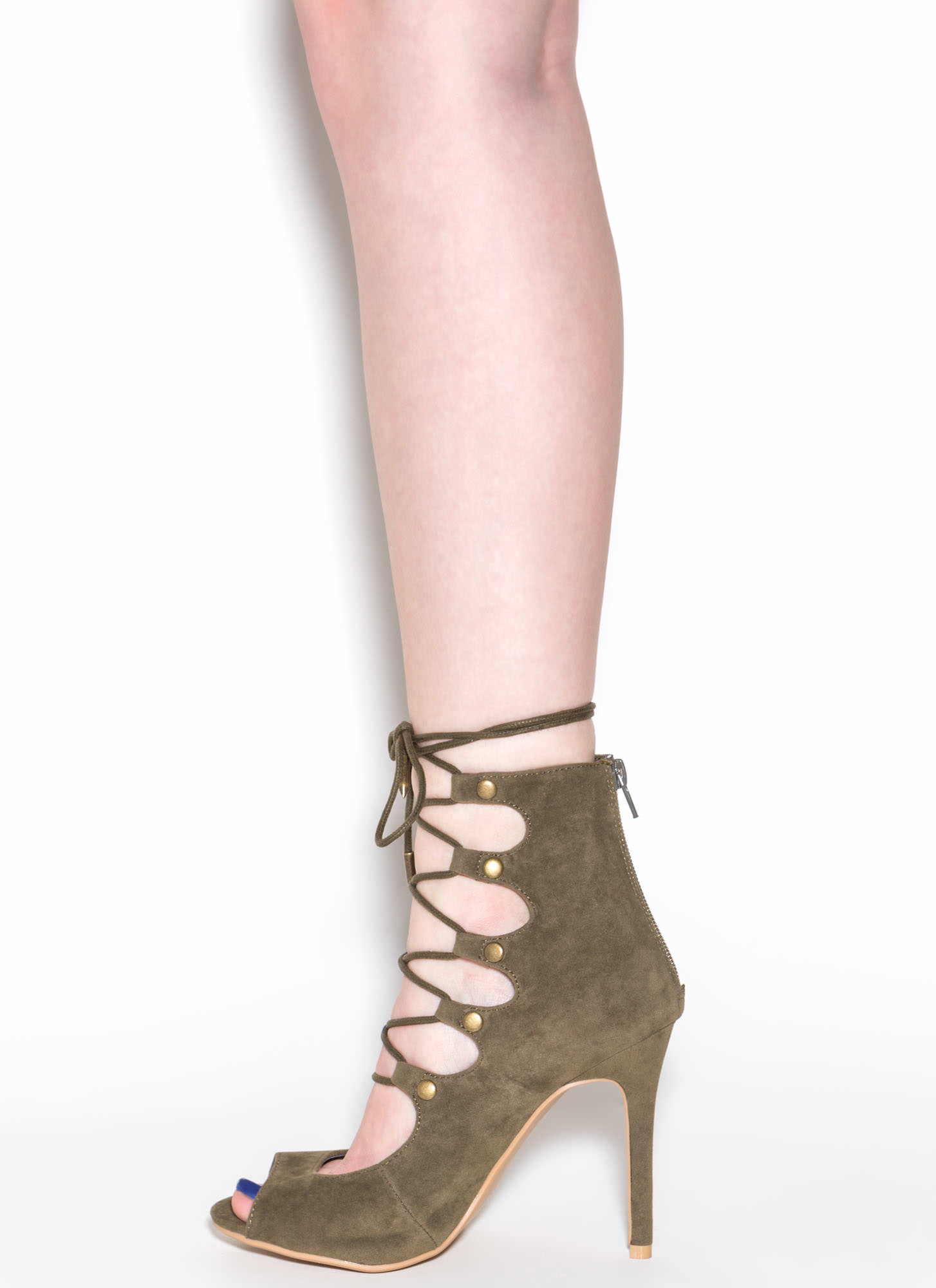 Save The Last Dance Lace-Up Heels OLIVE
