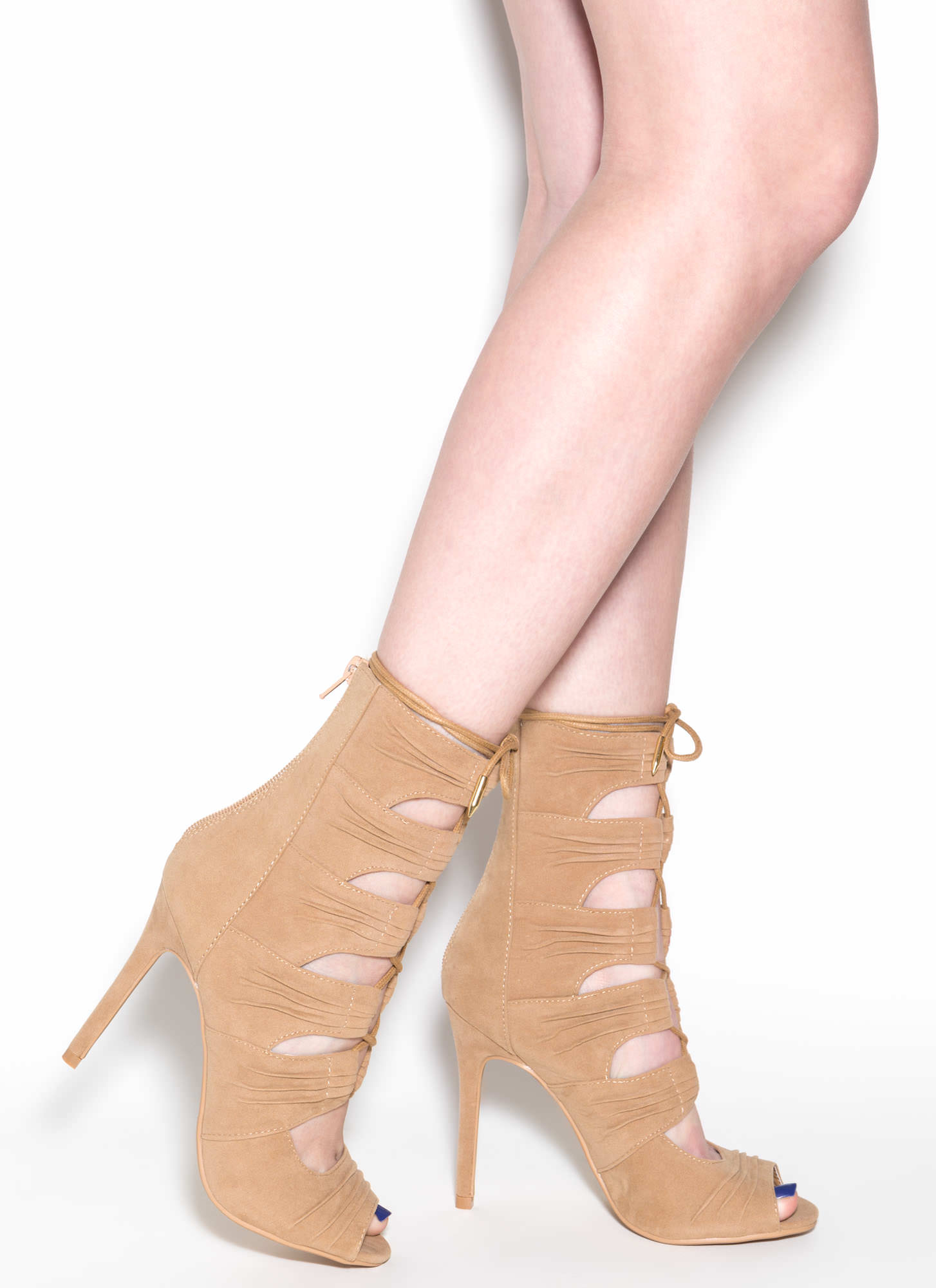 Ruche Hour Faux Suede Heels CAMEL
