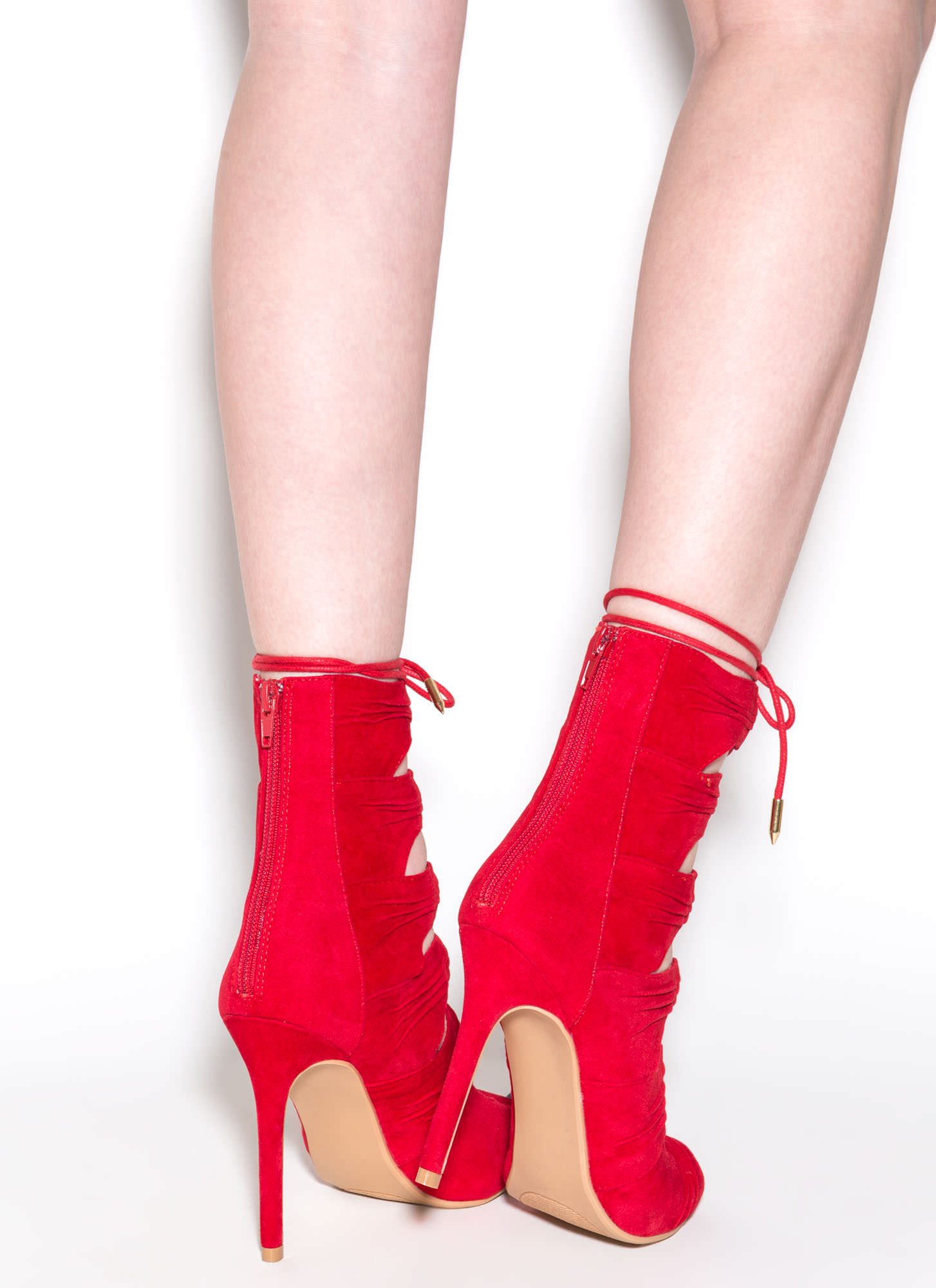 Ruche Hour Faux Suede Heels RED