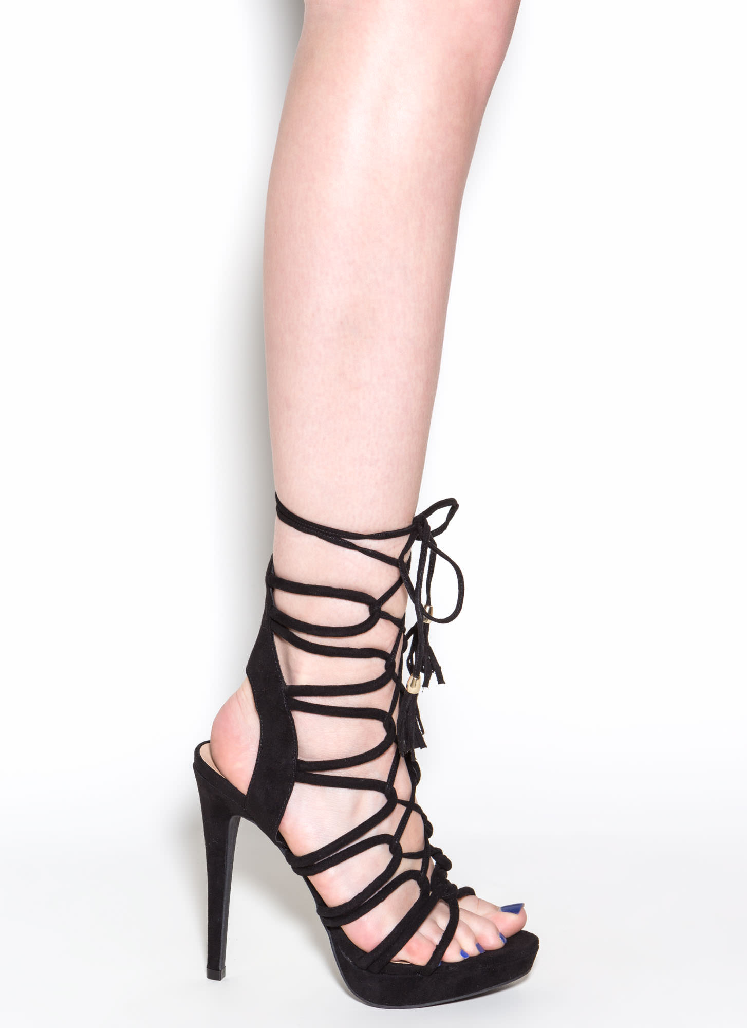 Feeling Loopy Faux Suede Caged Heels BLACK