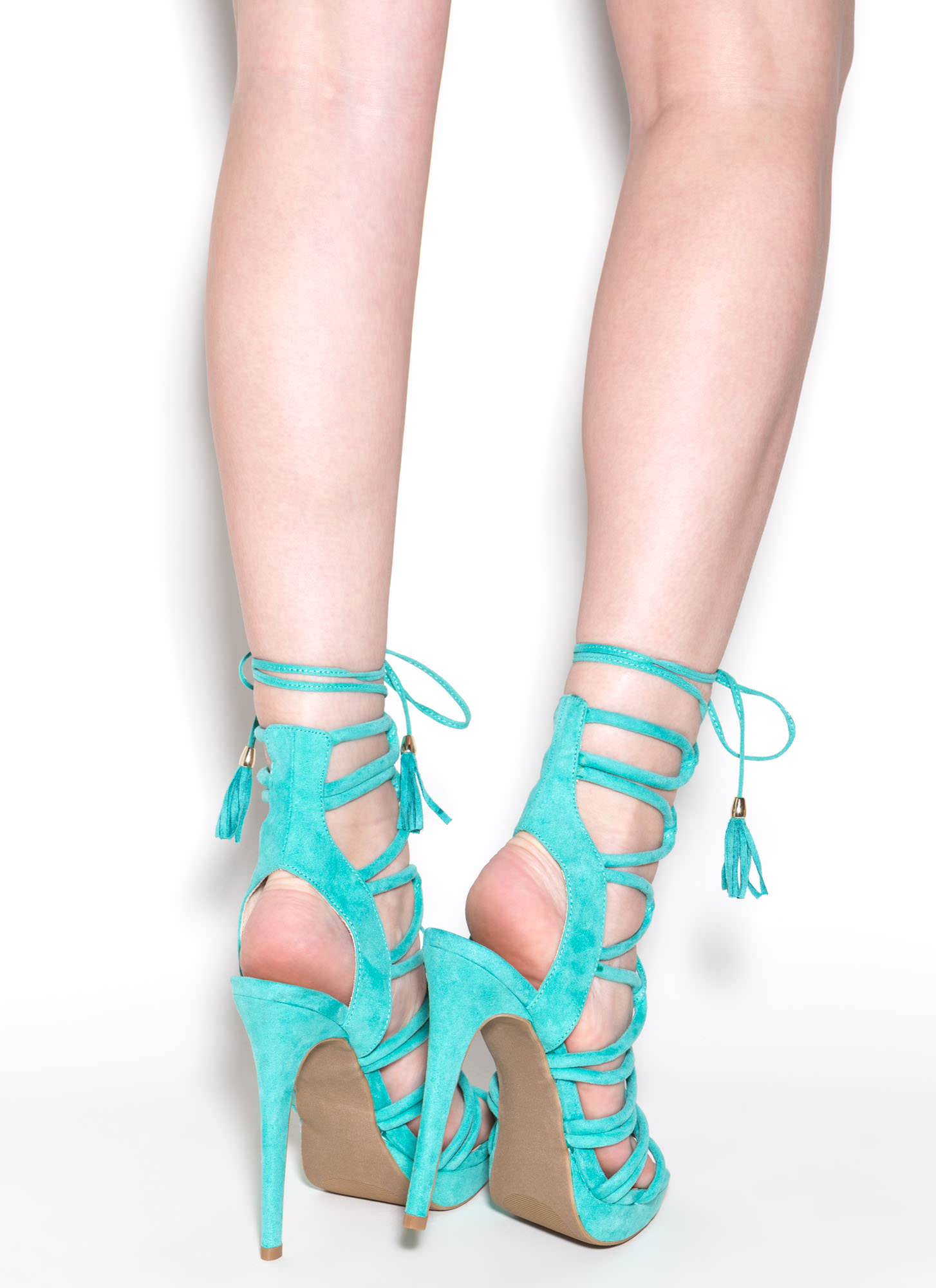 Feeling Loopy Faux Suede Caged Heels BRIGHTJADE