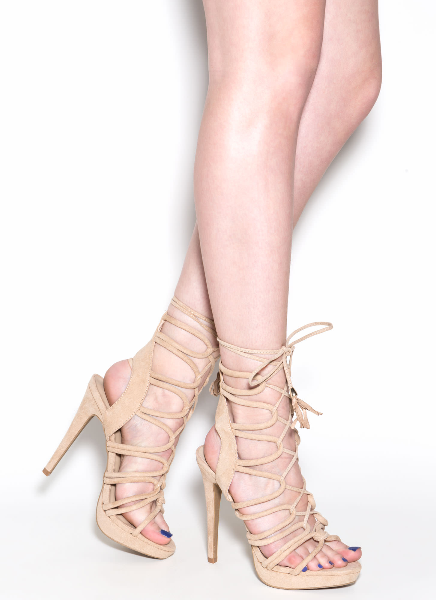 Feeling Loopy Faux Suede Caged Heels NATURAL