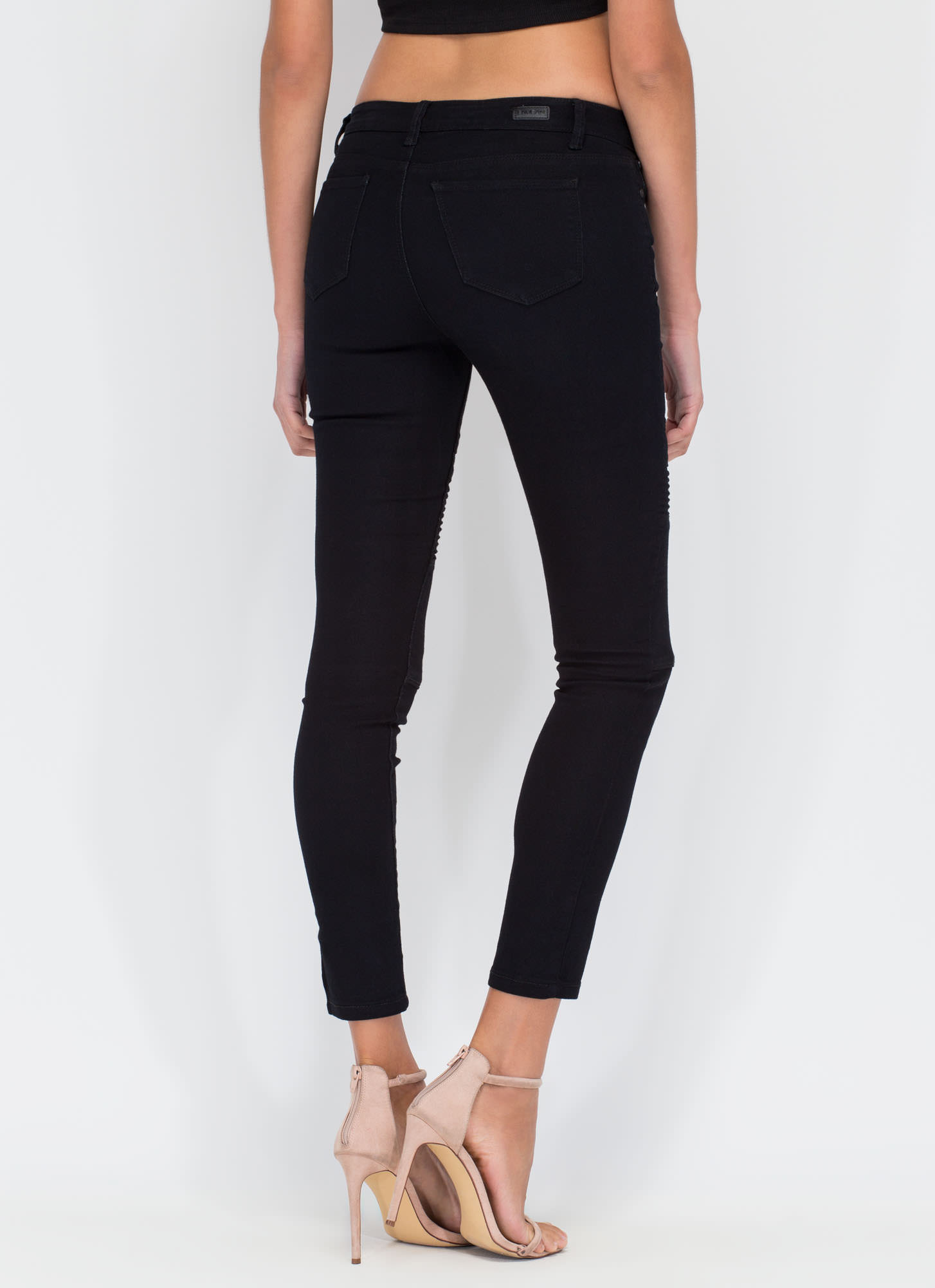 Moto Riding Paneled Skinny Jeans BLACK