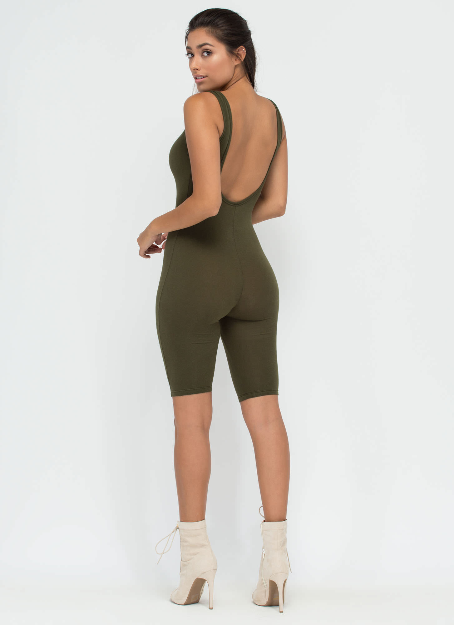Get The Scoop Cropped Jumpsuit OLIVE