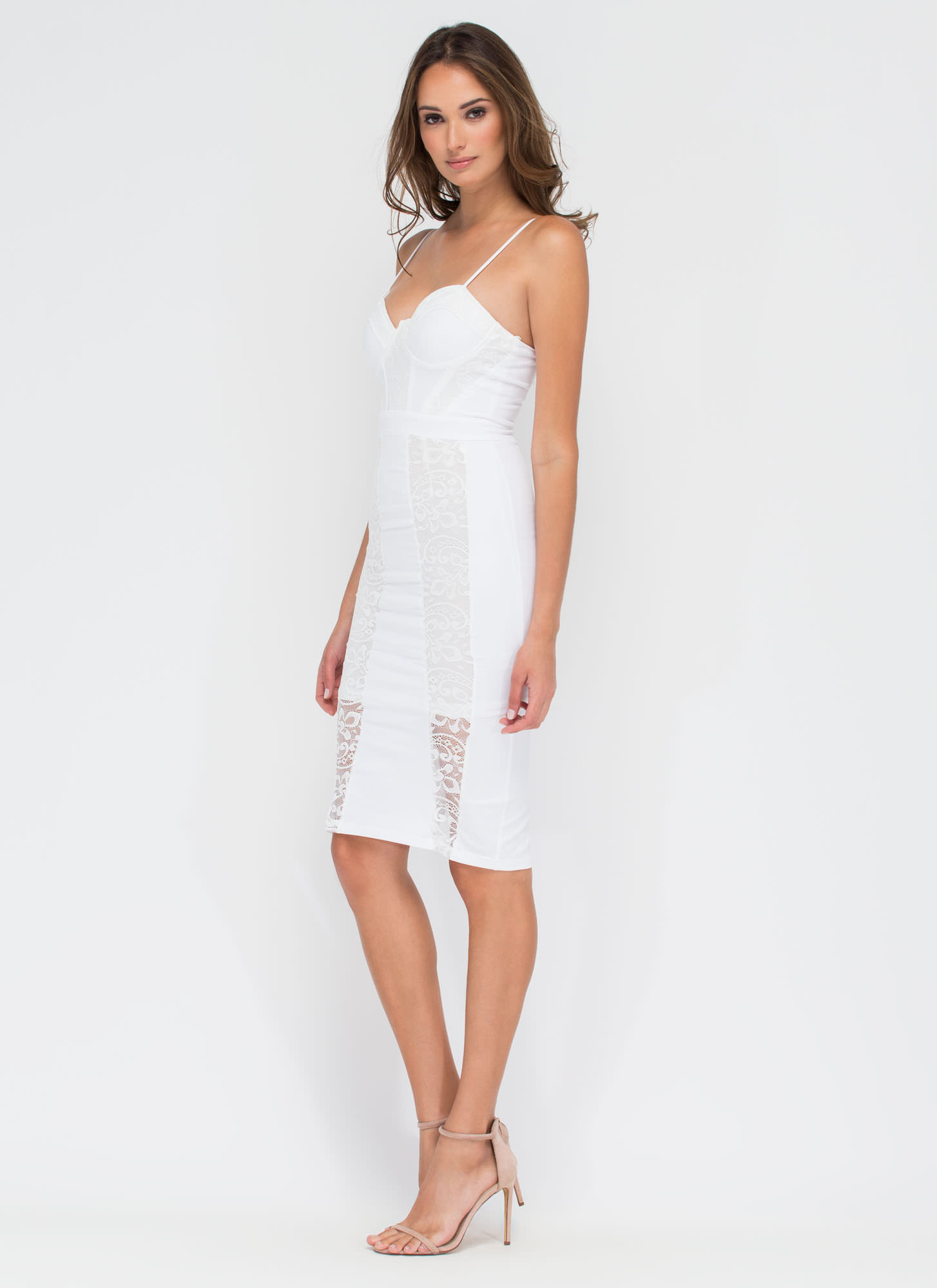 Lace The Night Bustier Midi Dress WHITE