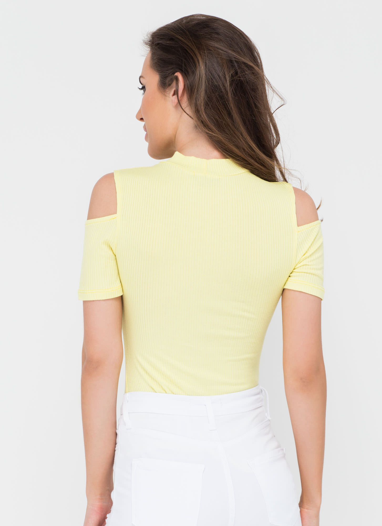 90s Stunner Cold Shoulder Ribbed Top YELLOW