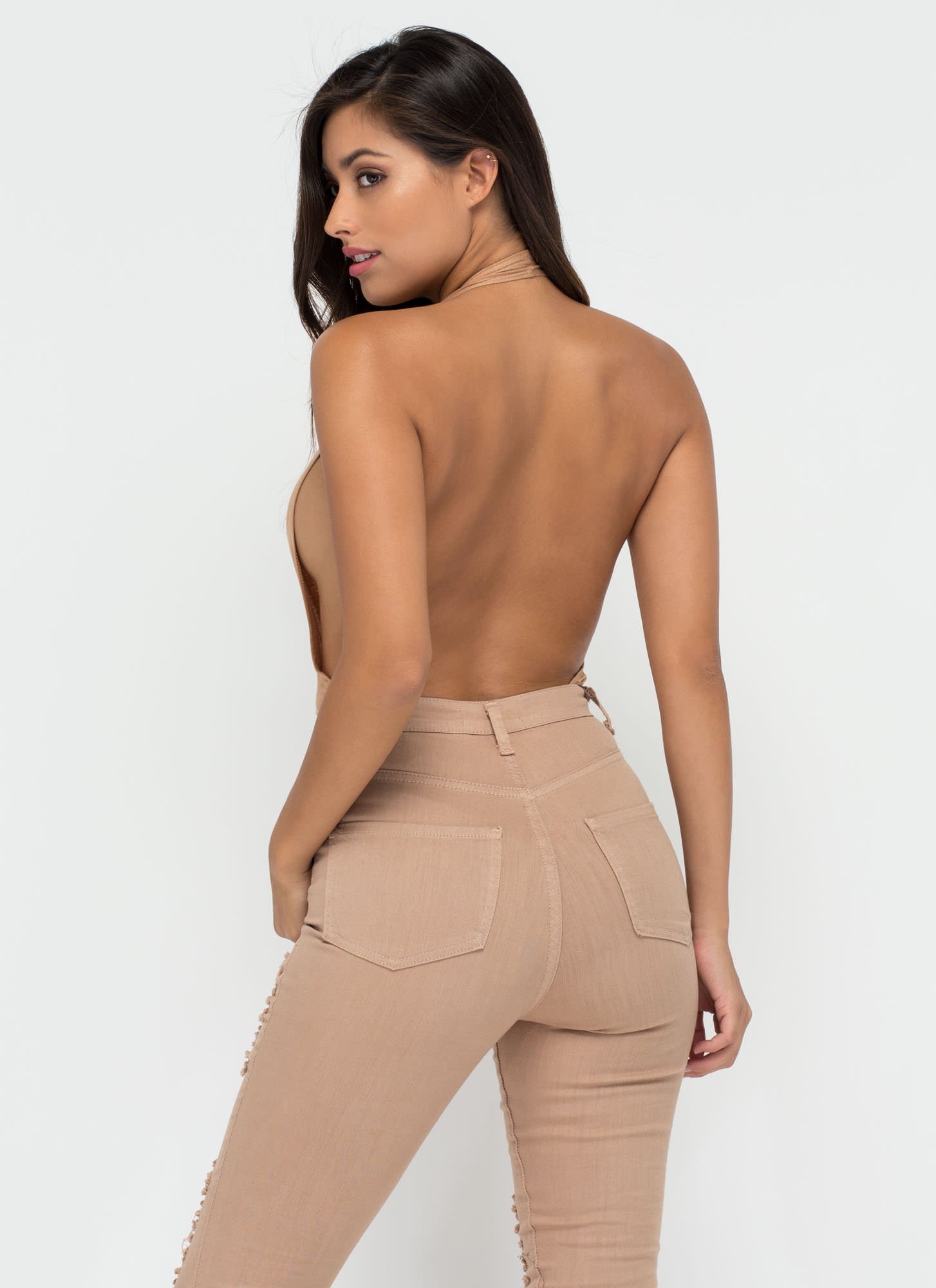 Can You Bare It Plunging Halter Bodysuit KHAKI