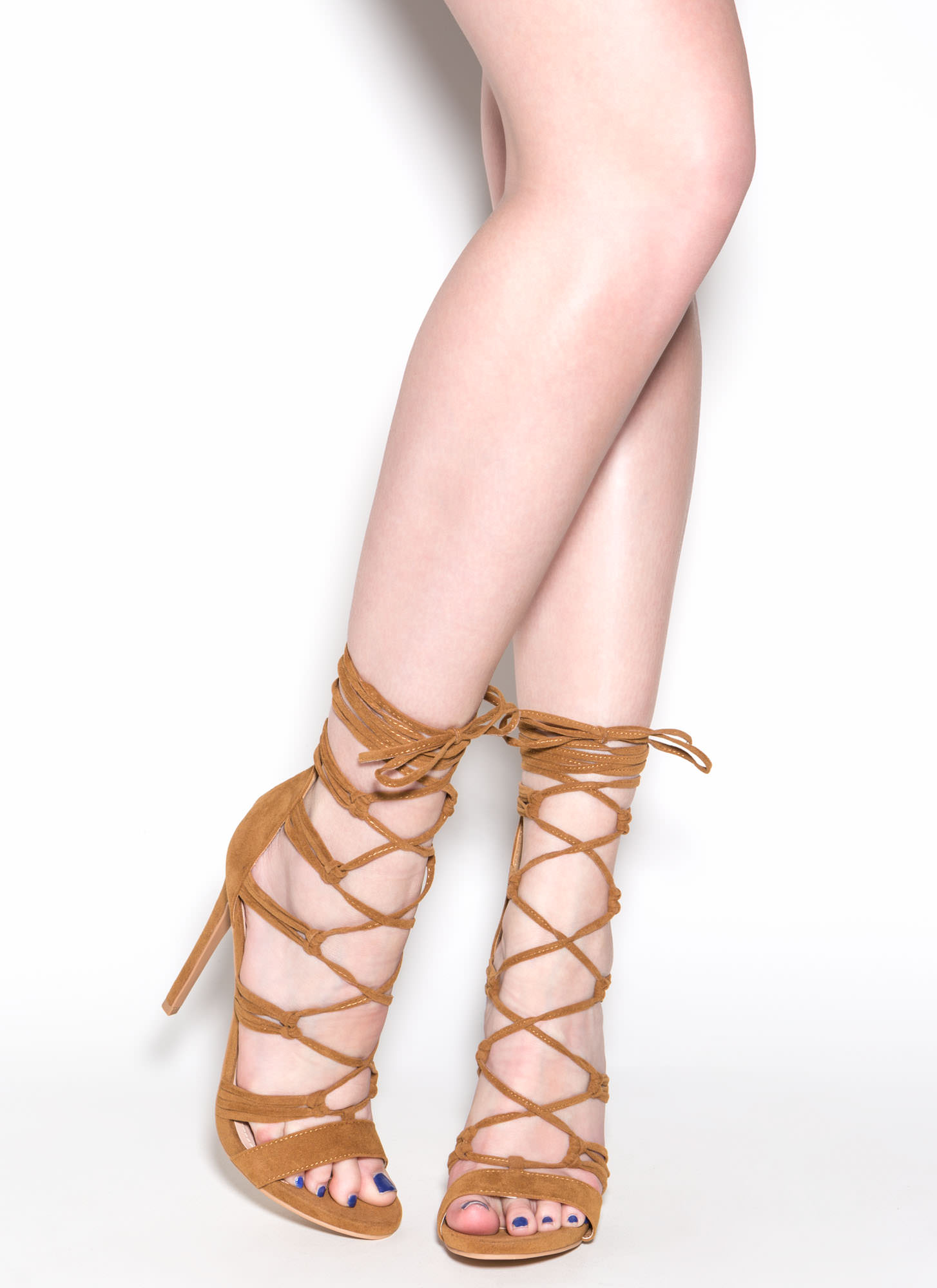 Loves Me Knot Lace-Up Heels CHESTNUT
