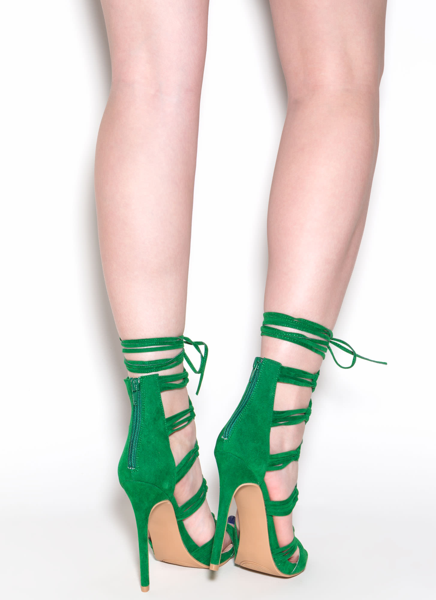 Loves Me Knot Lace-Up Heels GREEN