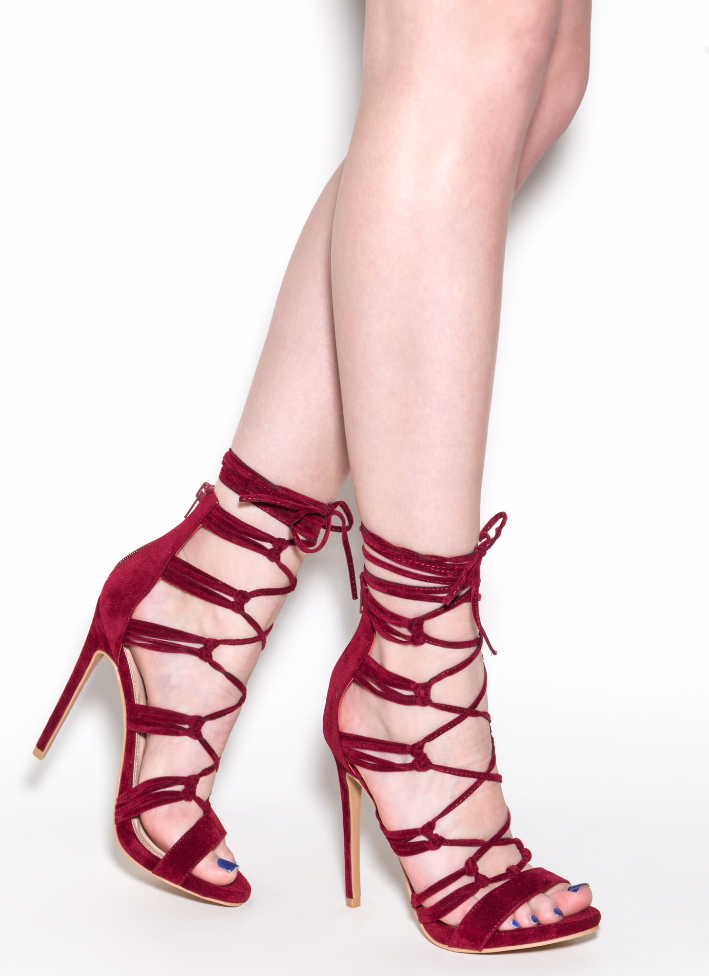 Loves Me Knot Lace-Up Heels WINE