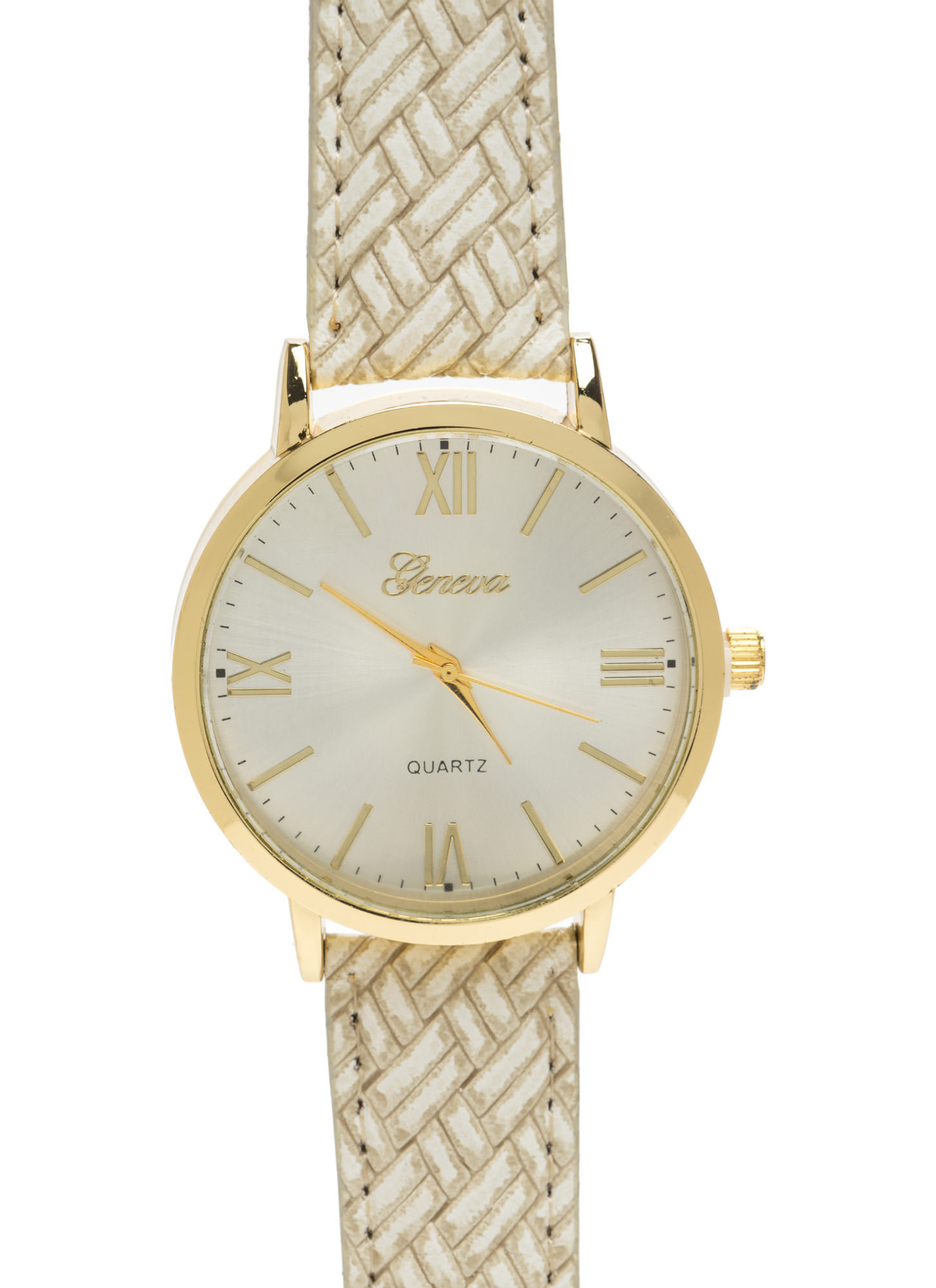 Right Time Oversized Faux Leather Watch BEIGE