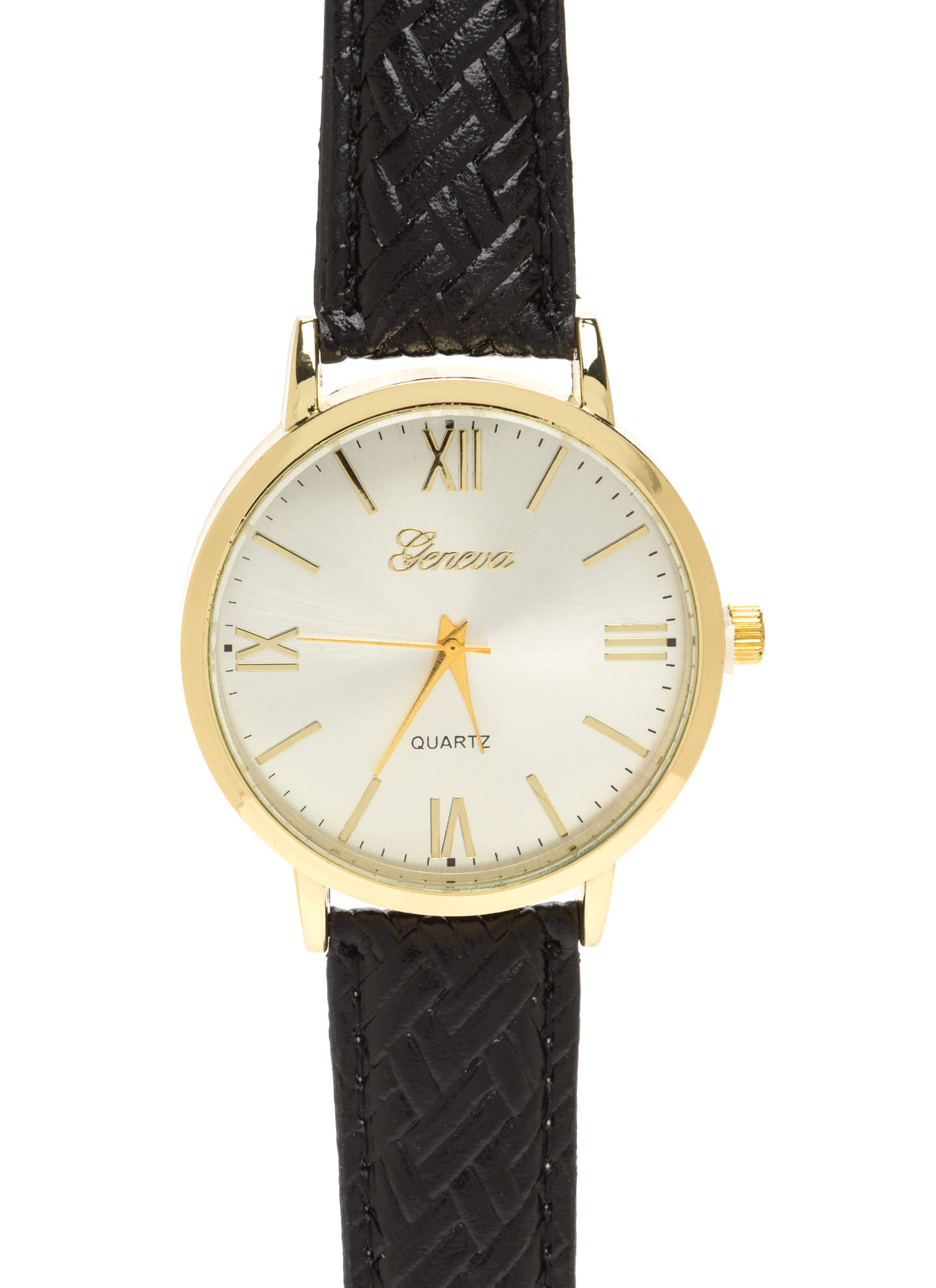Right Time Oversized Faux Leather Watch BLACK