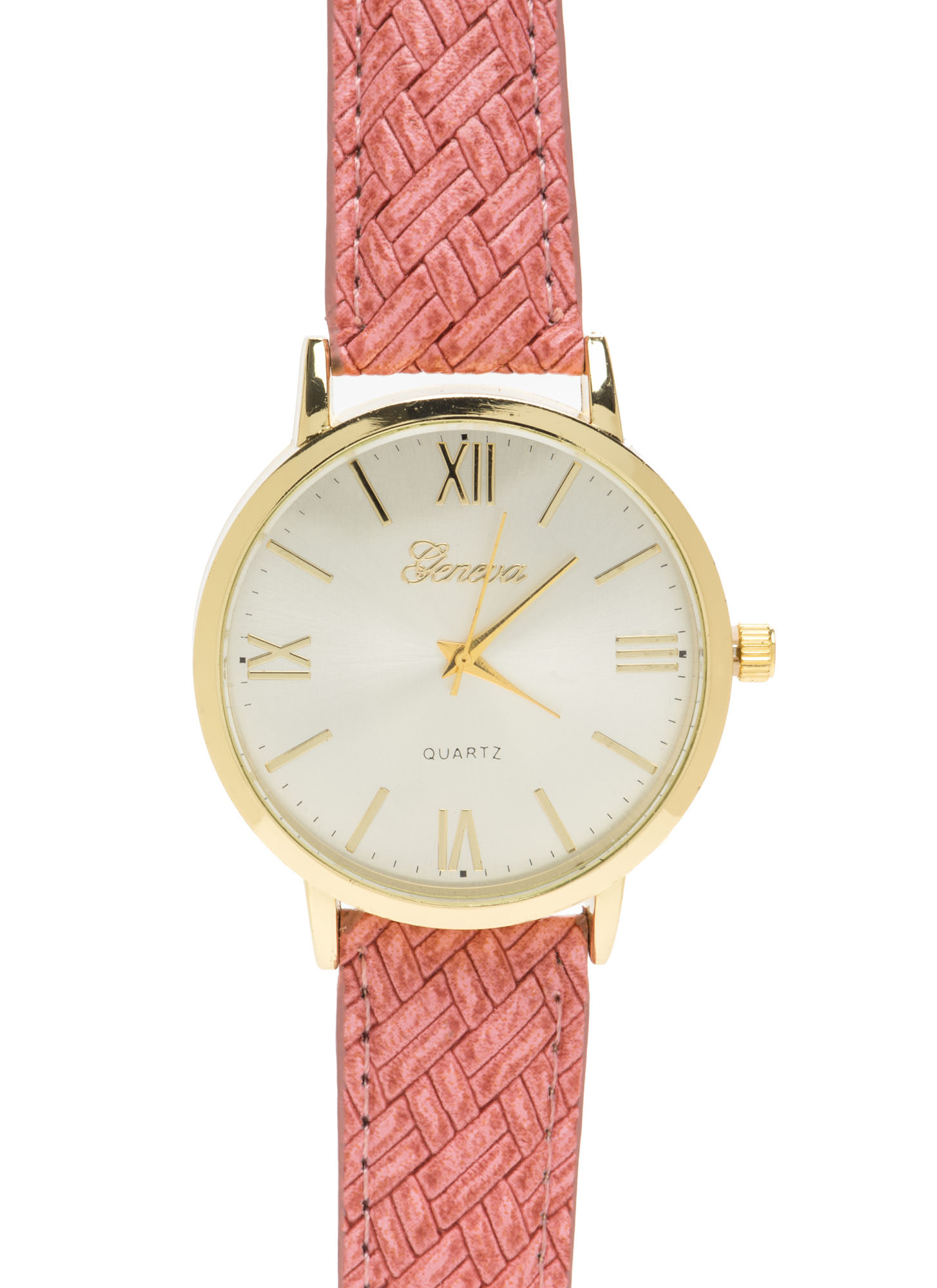 Right Time Oversized Faux Leather Watch CORAL