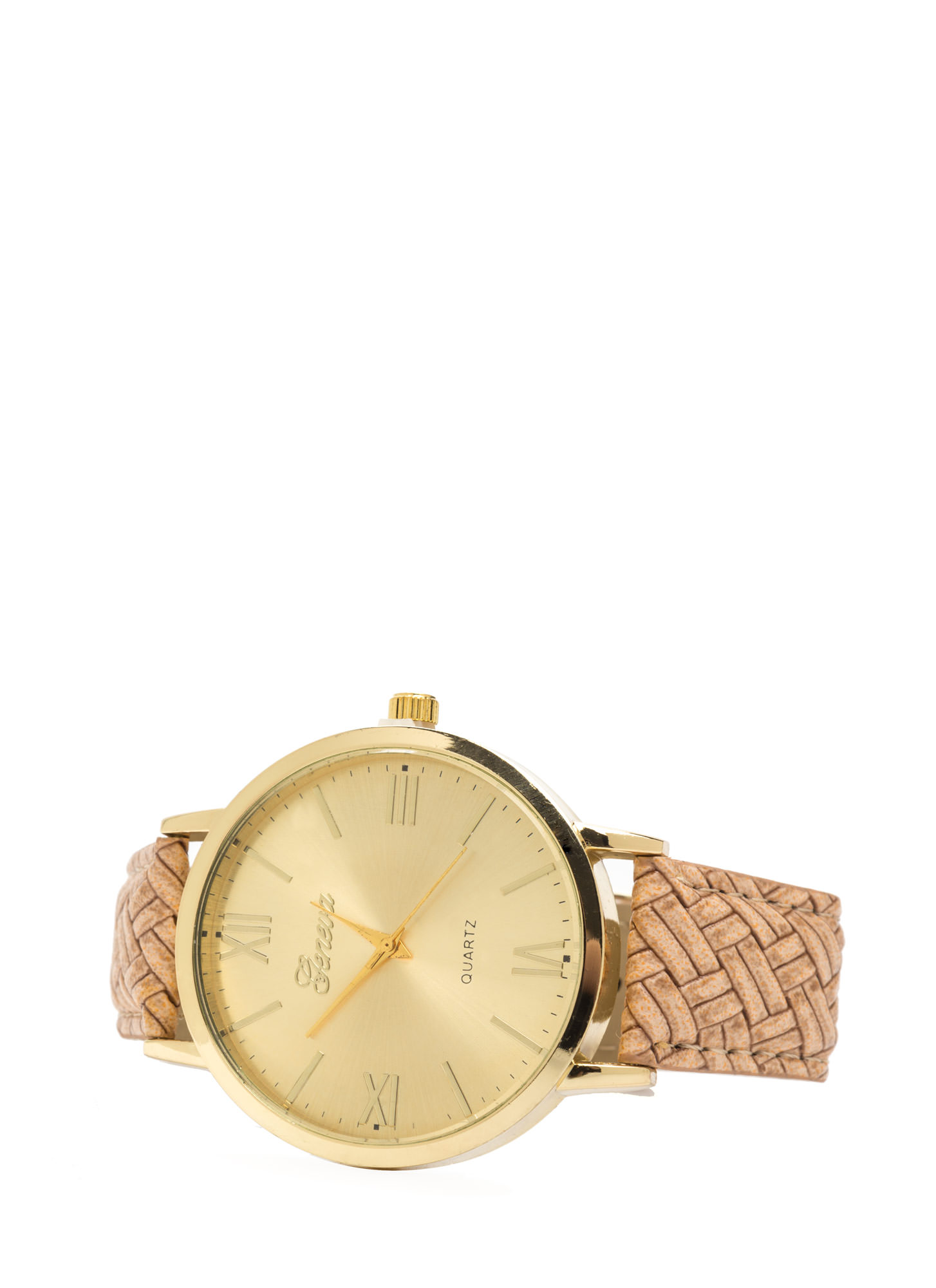 Right Time Oversized Faux Leather Watch TAUPE