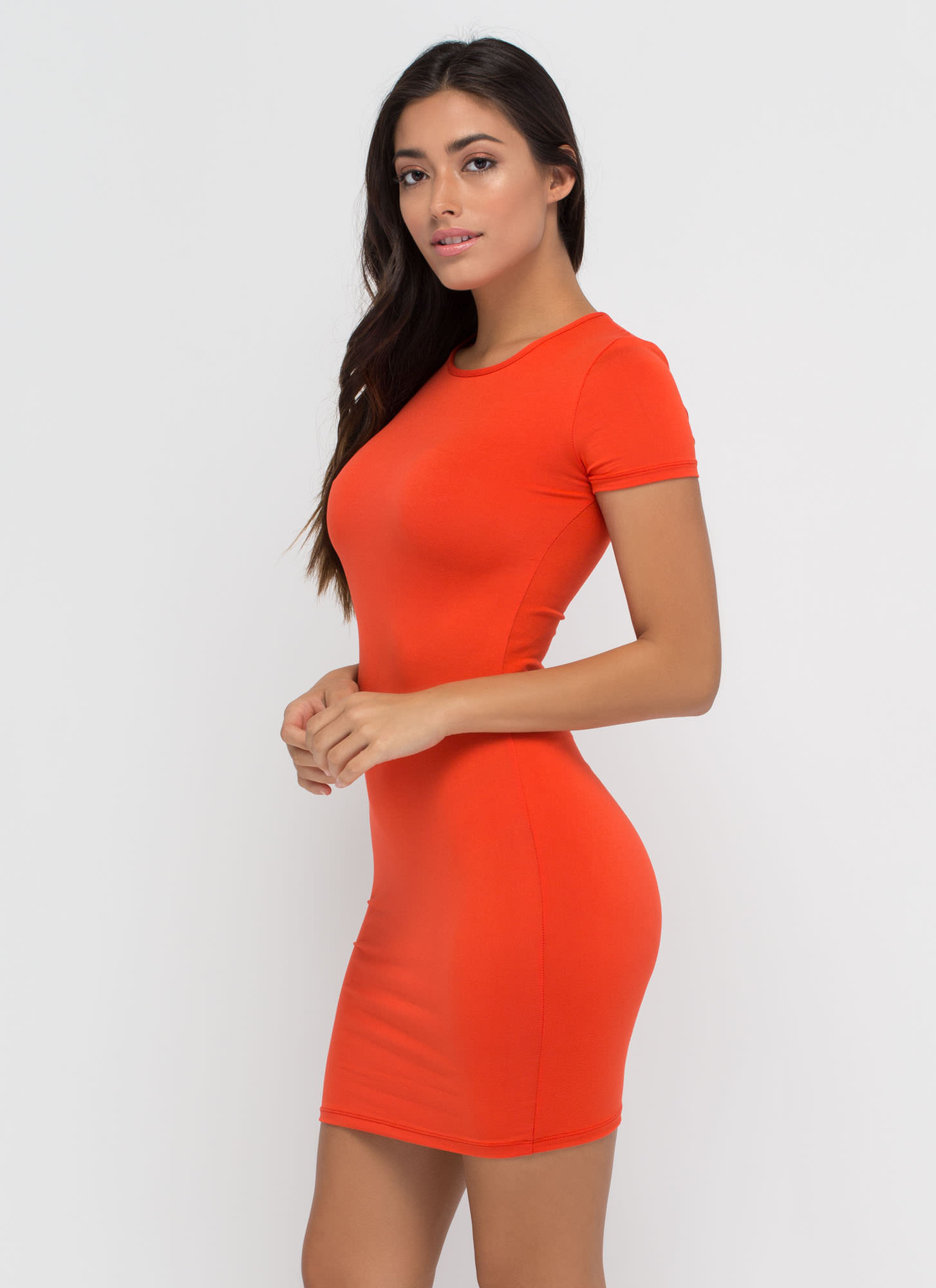 Doing Yourself A Solid T-Shirt Dress ORANGE