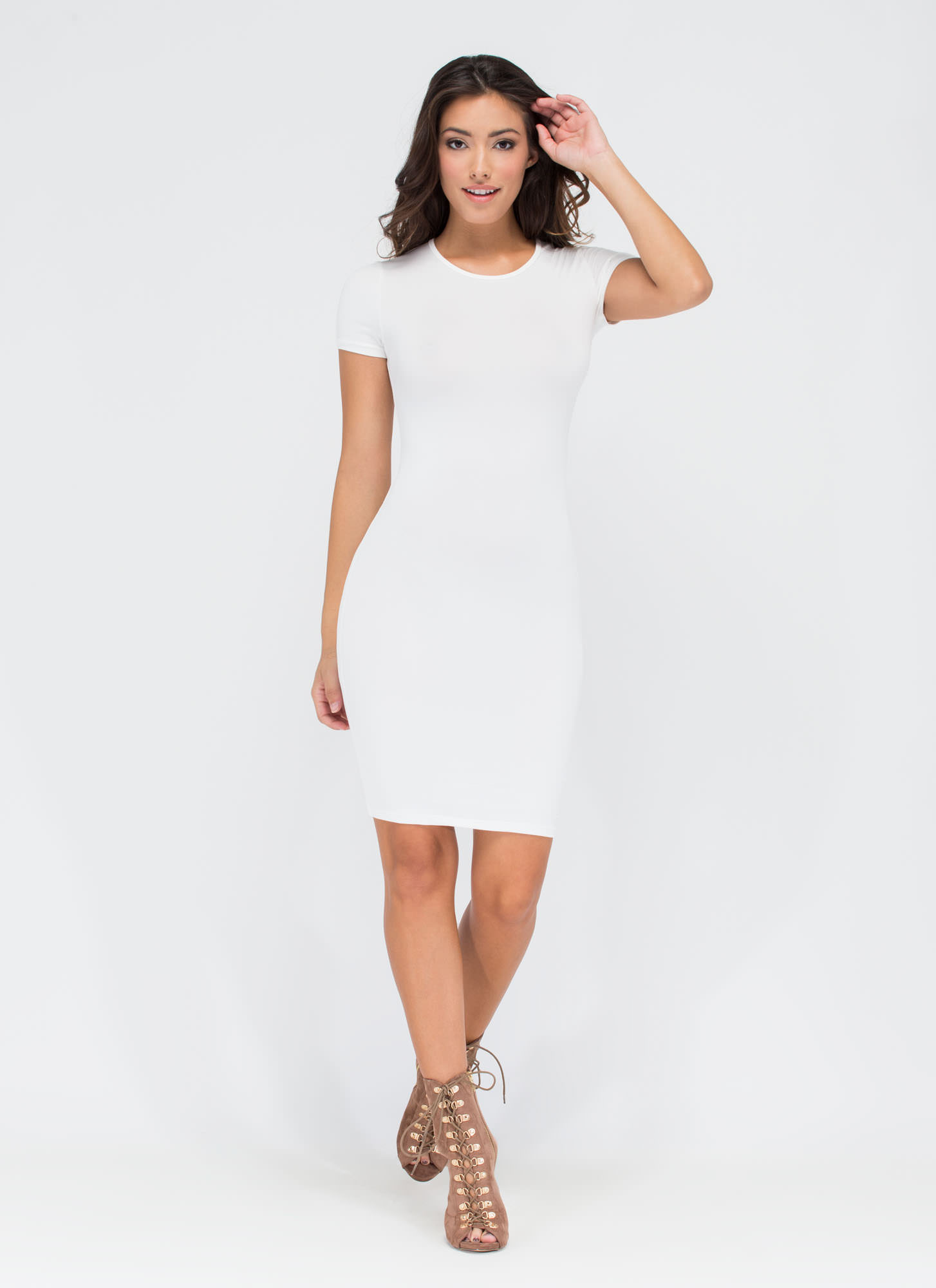 Doing Yourself A Solid T-Shirt Dress WHITE