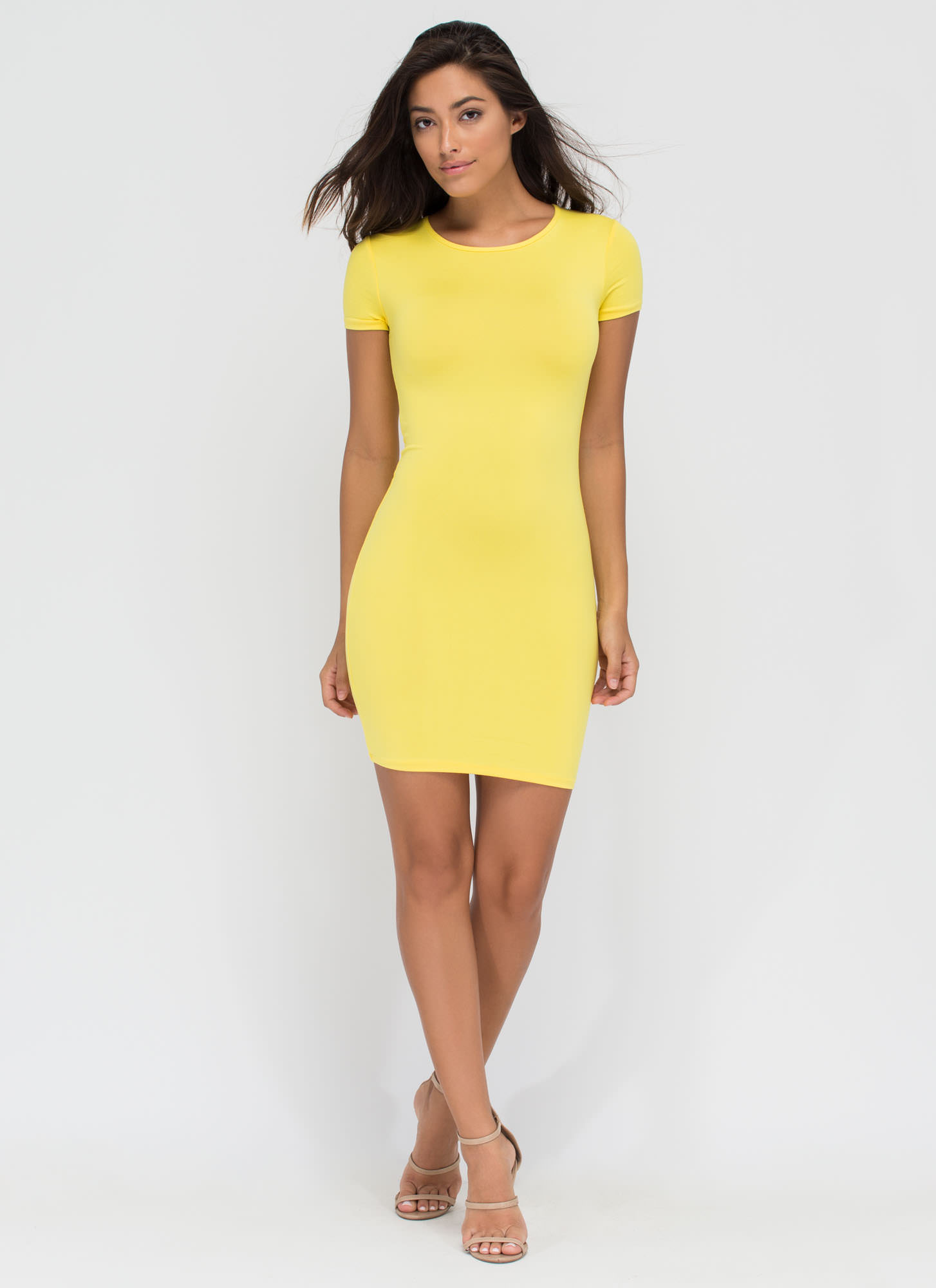 Doing Yourself A Solid T-Shirt Dress YELLOW