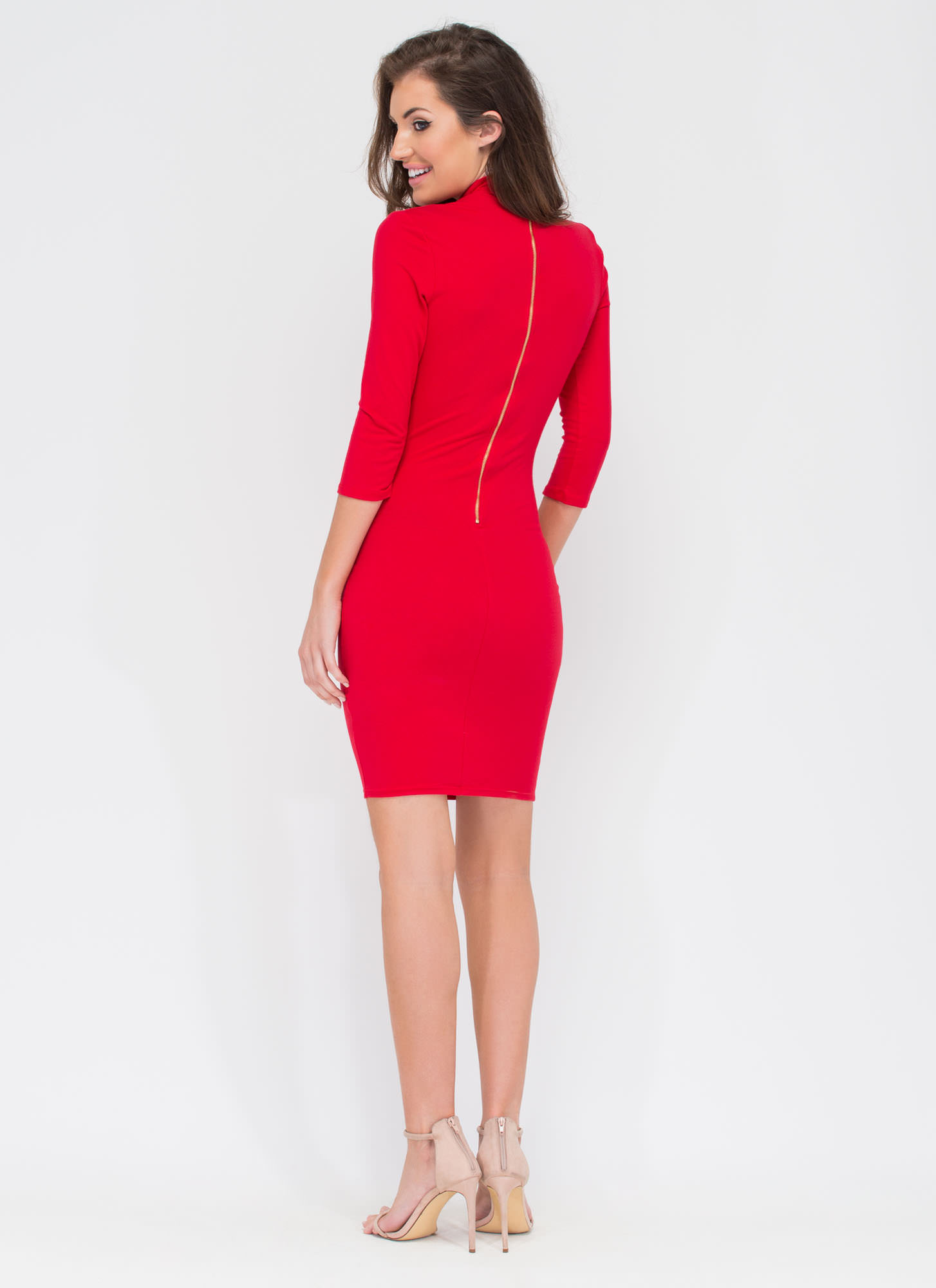 Bust A Move Mockneck Bodycon Dress RED