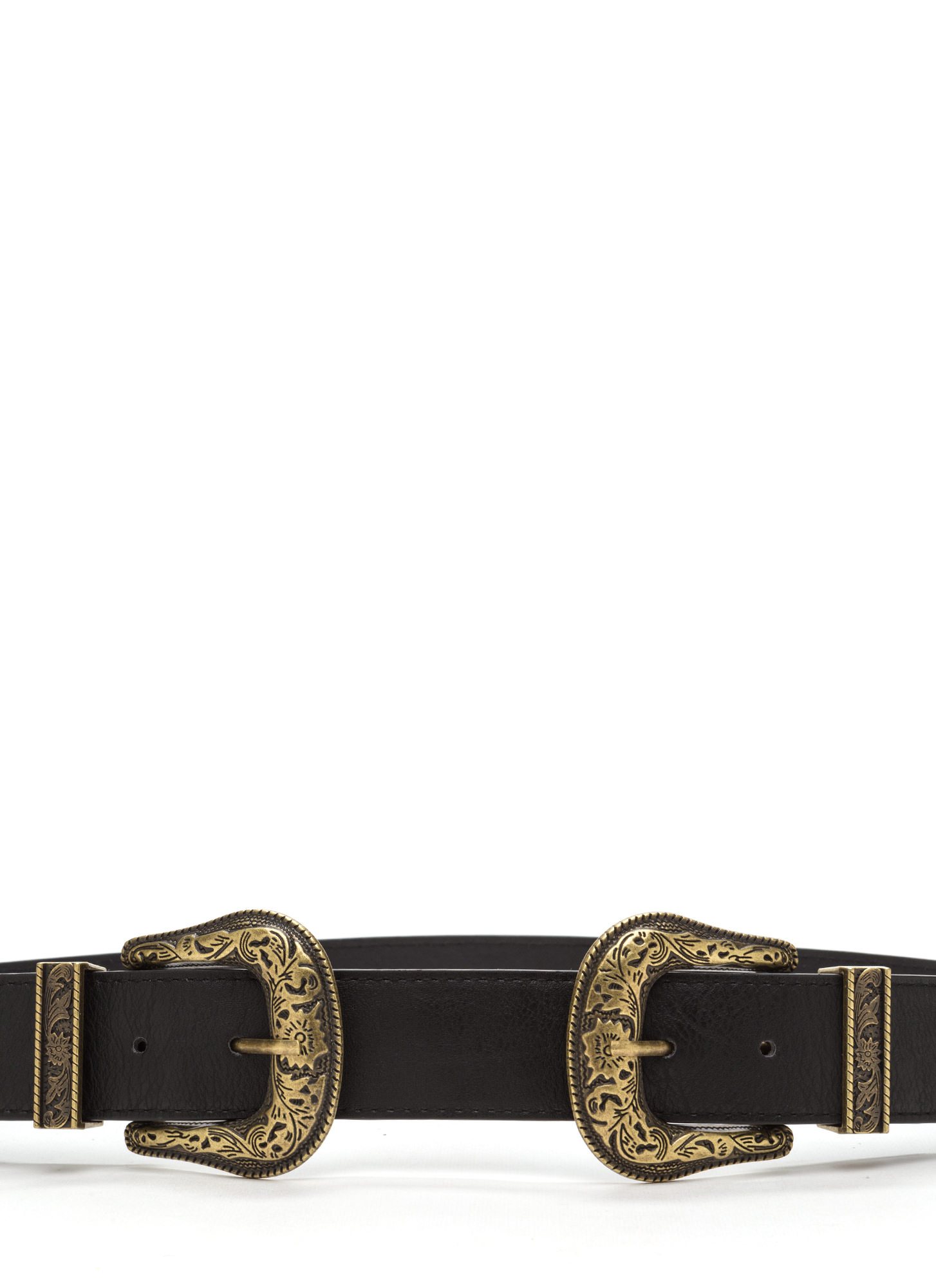 Wild Western Double Buckle Belt BLACKDKGOLD