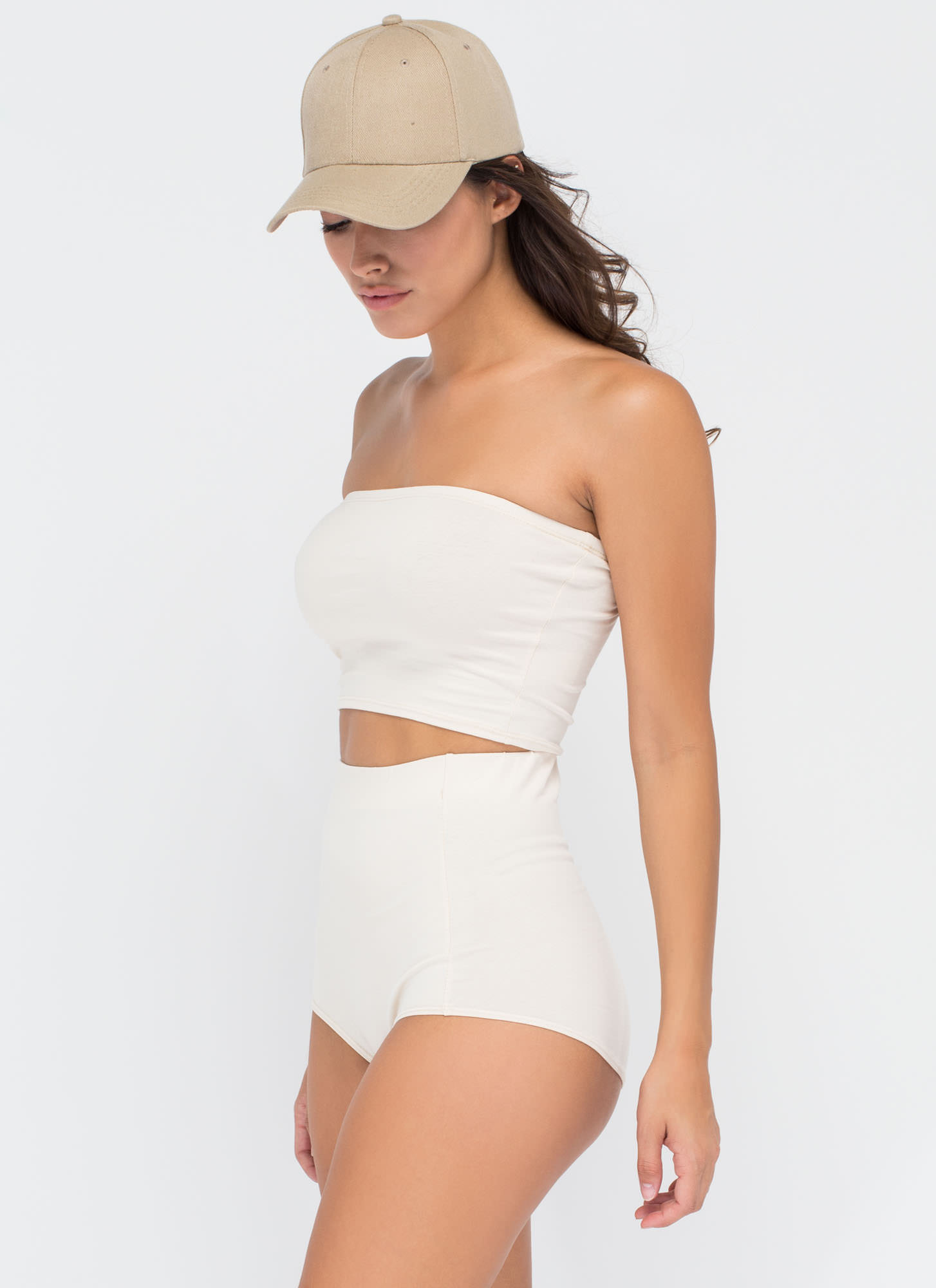 Two Become One Bandeau 'N Hotshorts Set NUDE