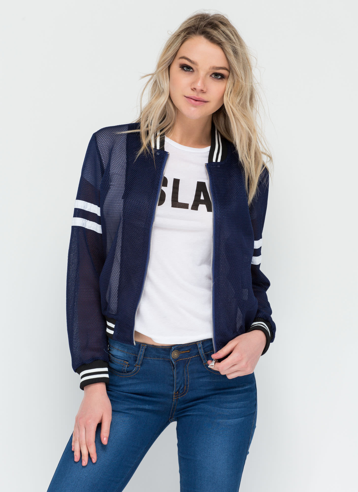 Sporty Attitude Sheer Mesh Bomber Jacket NAVY