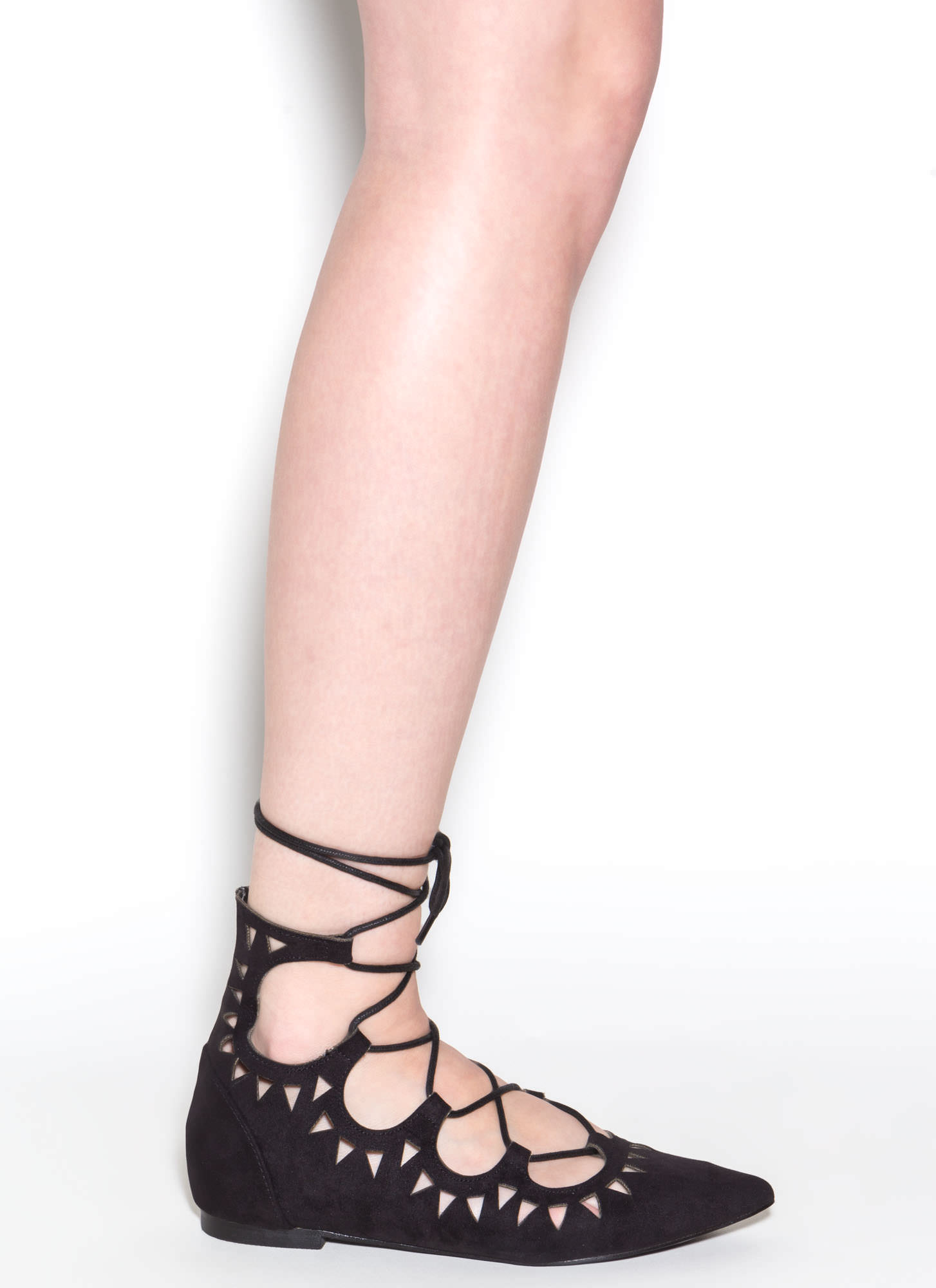 Finders Keepers Pointy Lace-Up Flats BLACK