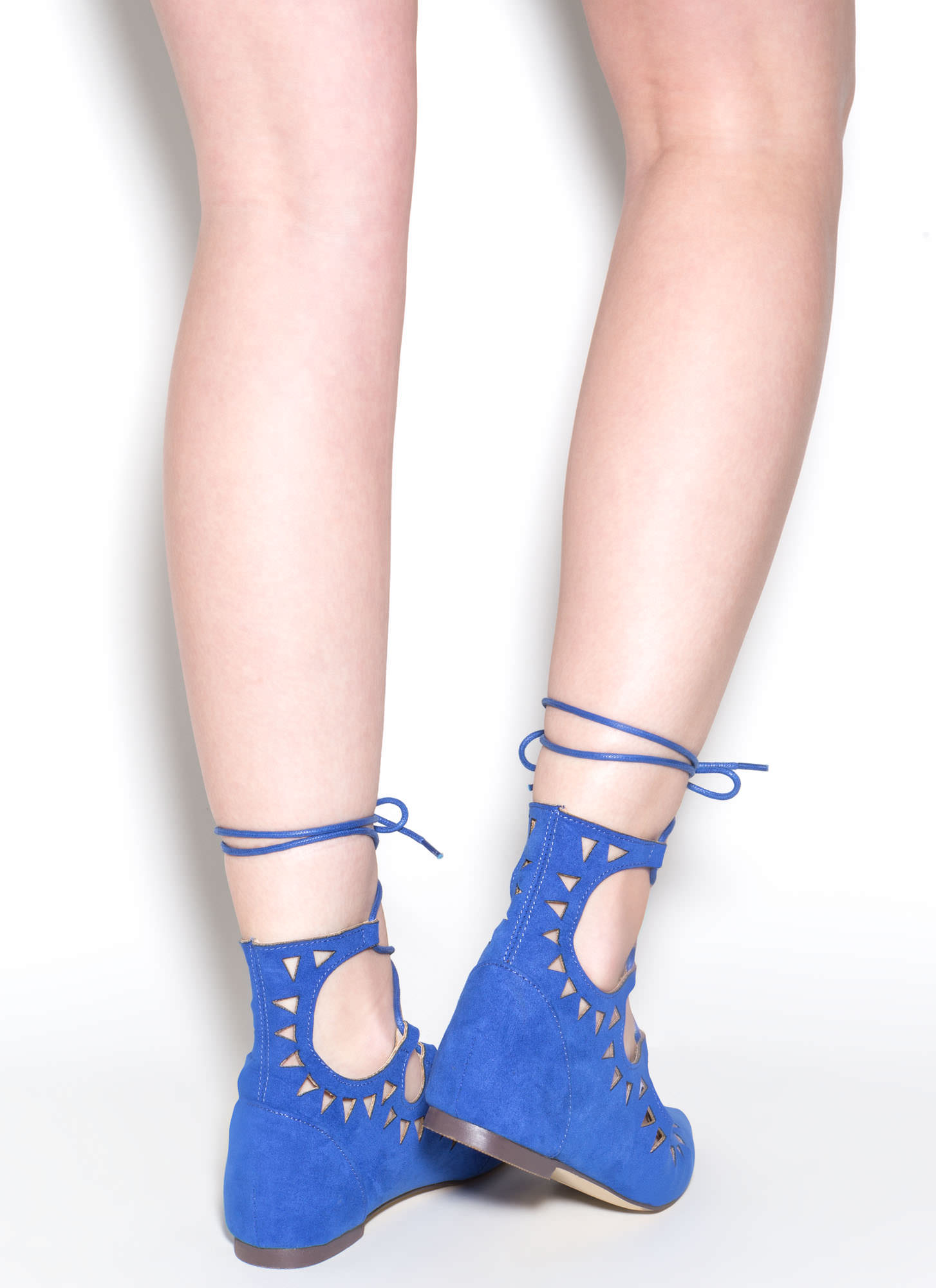Finders Keepers Pointy Lace-Up Flats BLUE