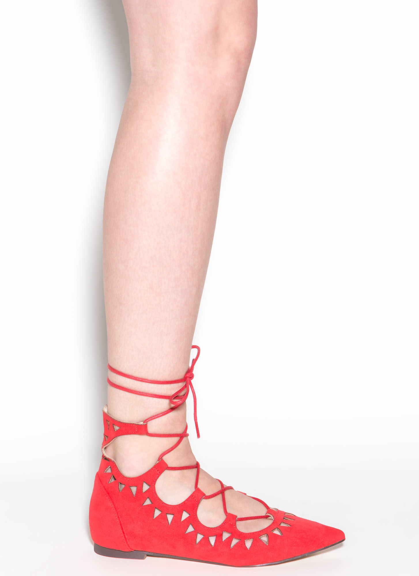Finders Keepers Pointy Lace-Up Flats CORAL