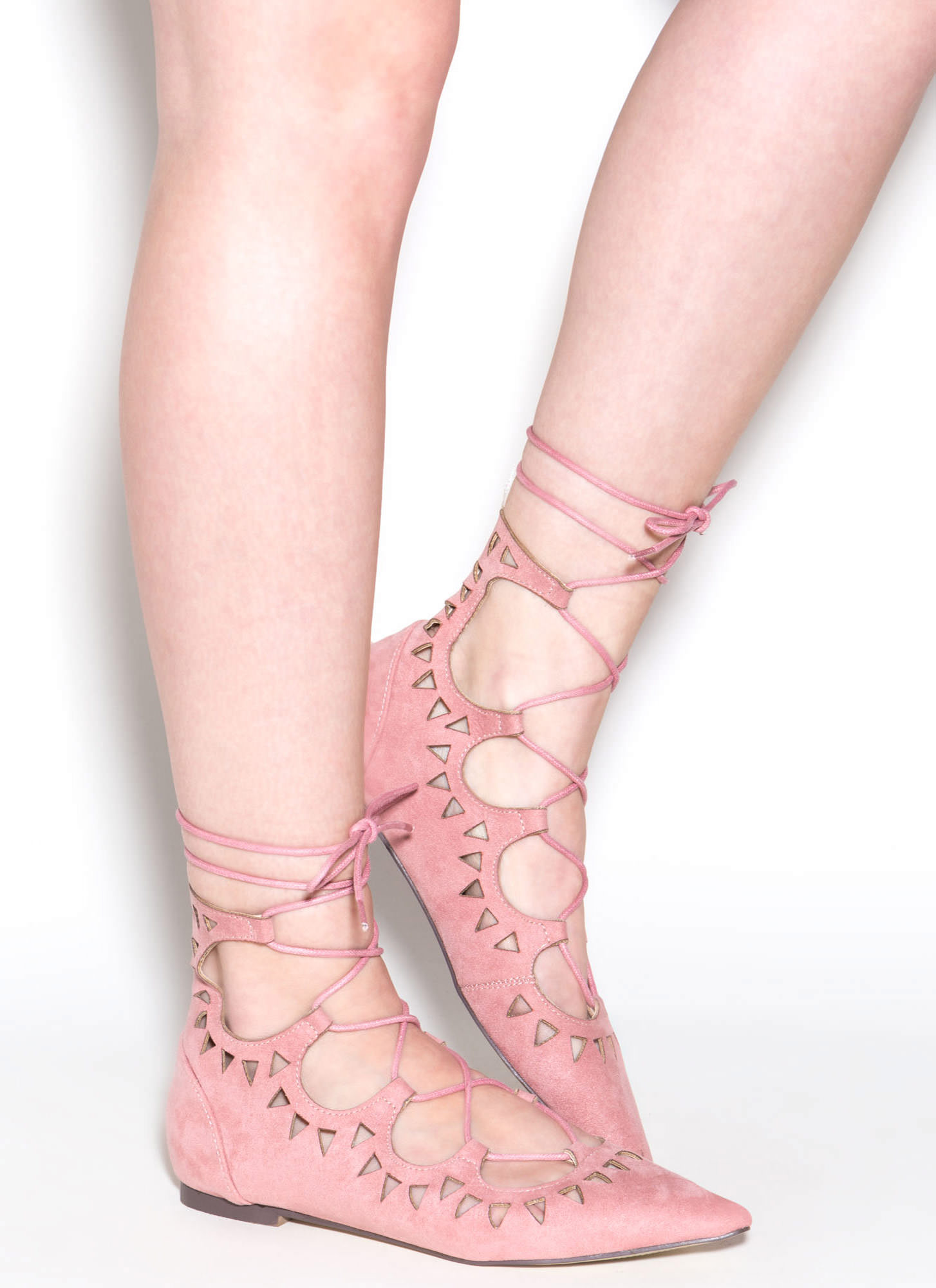 Finders Keepers Pointy Lace-Up Flats DUSTYPINK