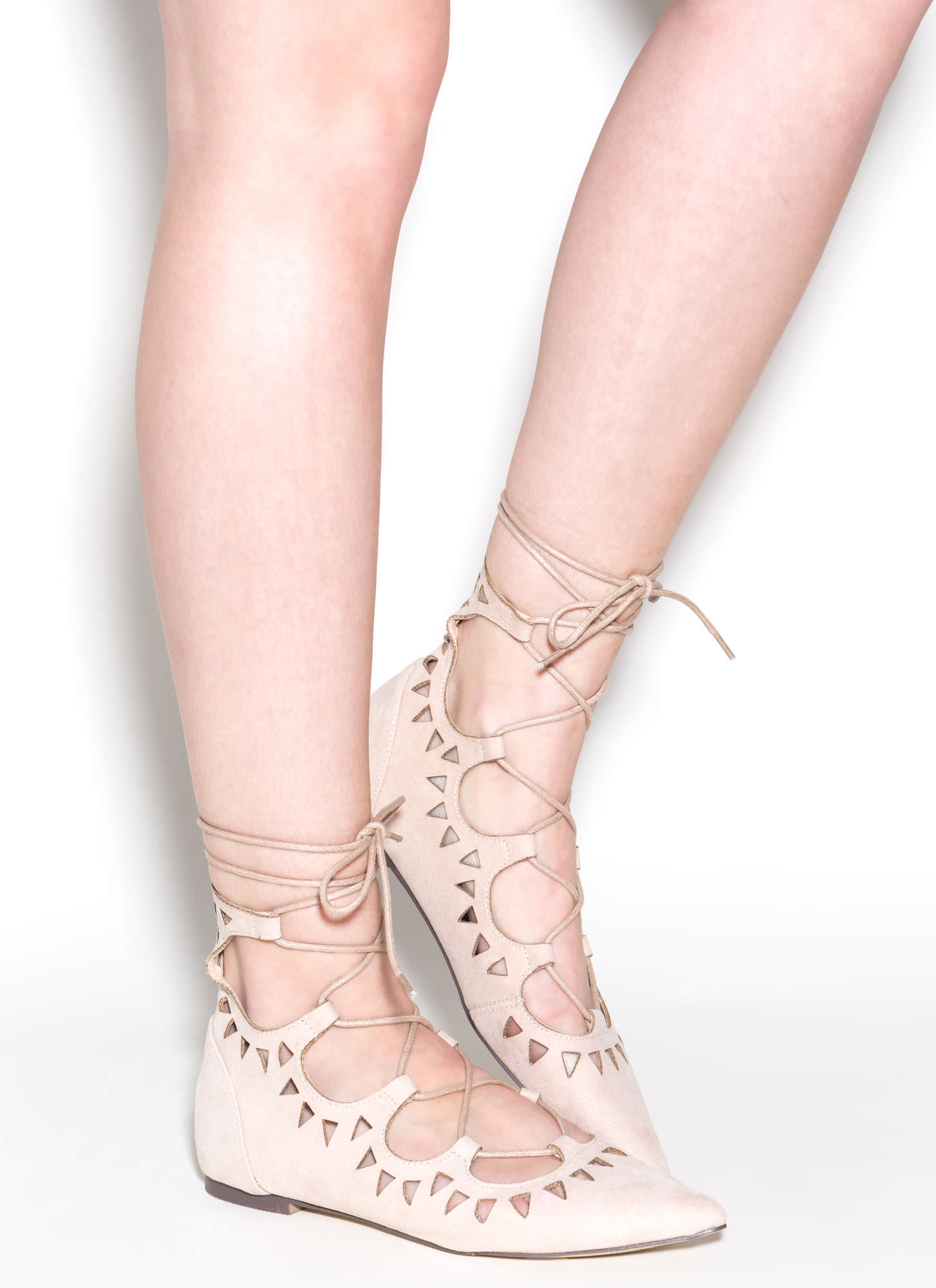 Finders Keepers Pointy Lace-Up Flats NUDE
