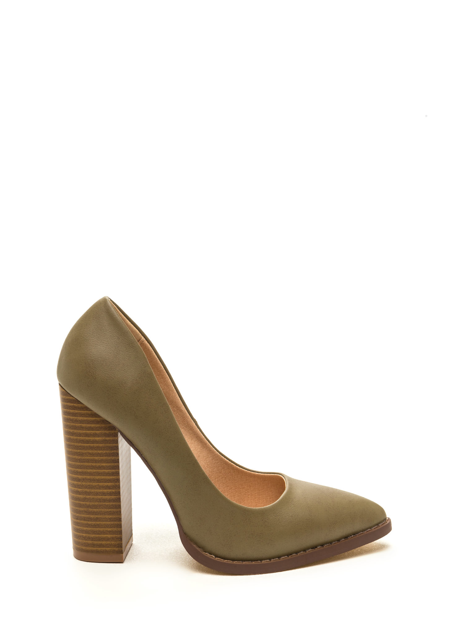 Executive Office Chunky Pointy Toe Heels OLIVE