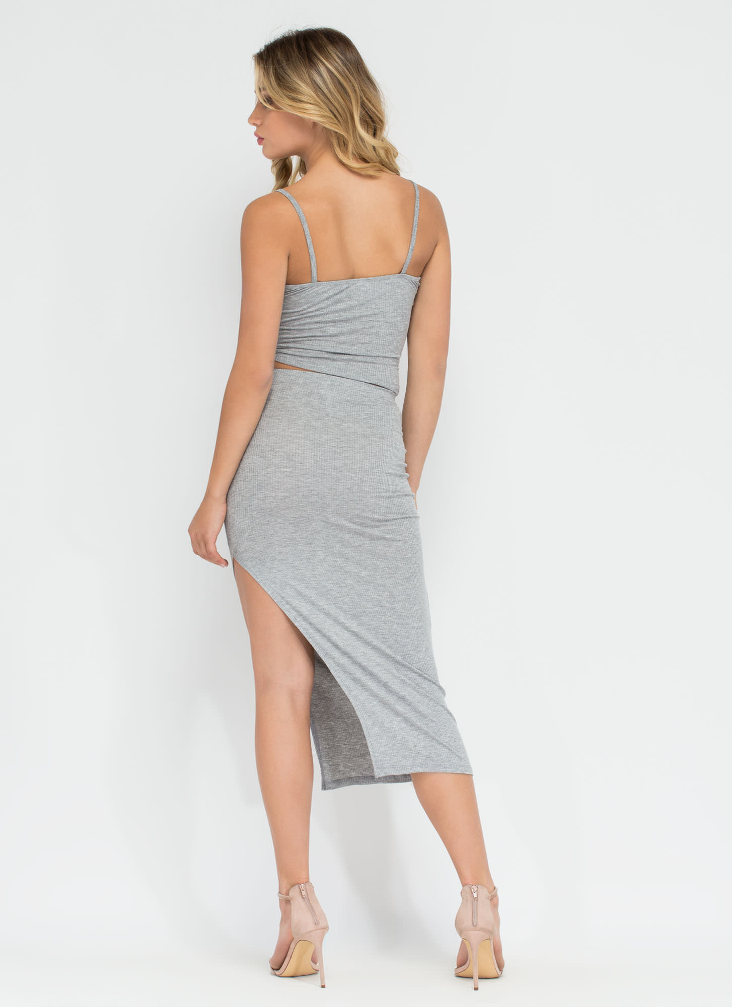 Top To Bottom Ribbed Two-Piece Dress HGREY