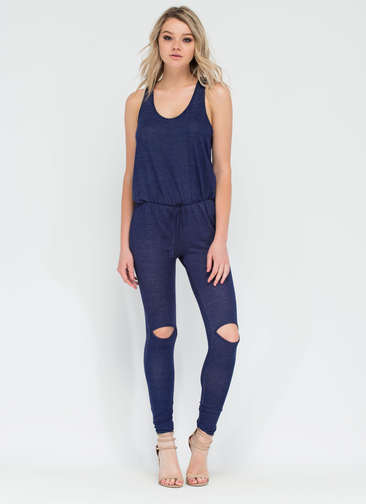 Slit Girl Racerback Jumpsuit NAVY