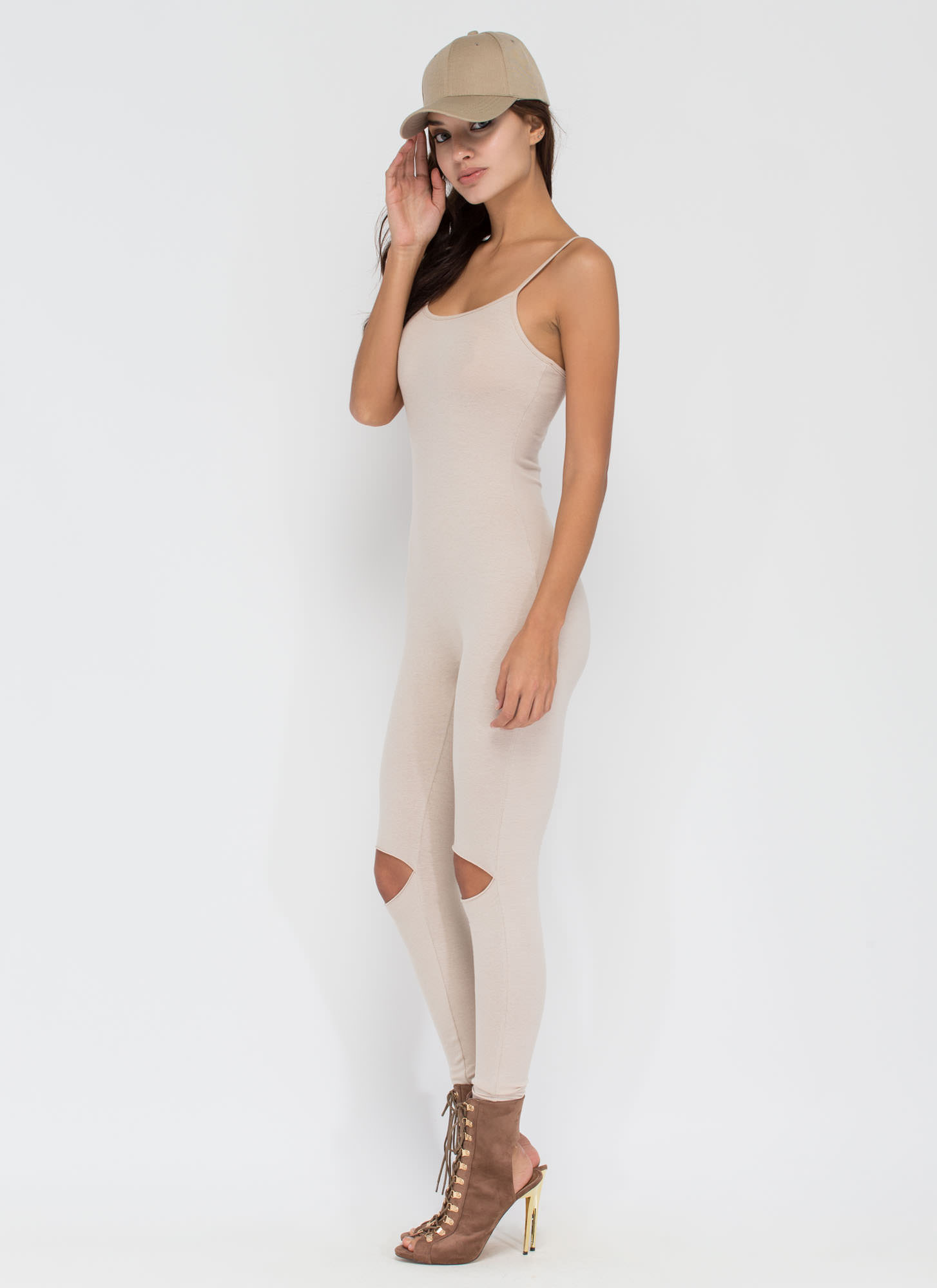 Easy Street Slit Knee Jumpsuit NUDE