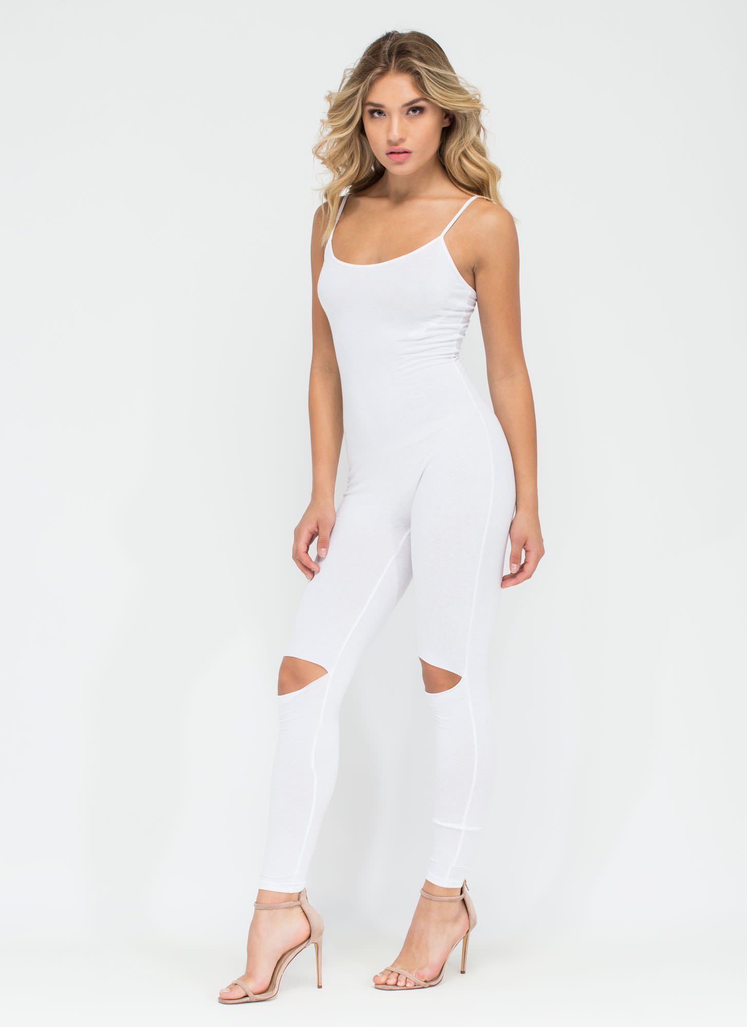 Easy Street Slit Knee Jumpsuit WHITE