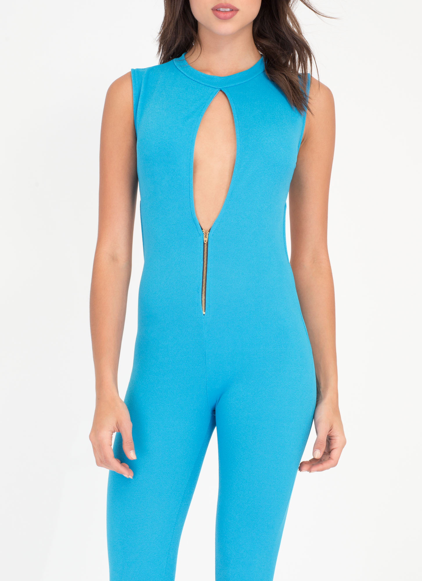 Dusk To Dawn Textured Cut-Out Jumpsuit AQUA