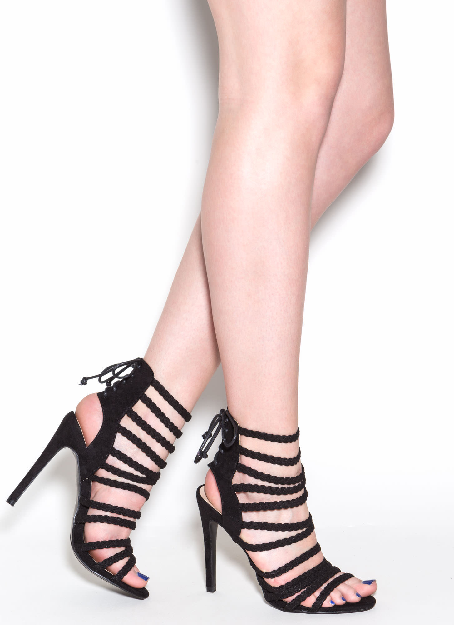 Set To Stun Lace-Up Faux Suede Heels BLACK