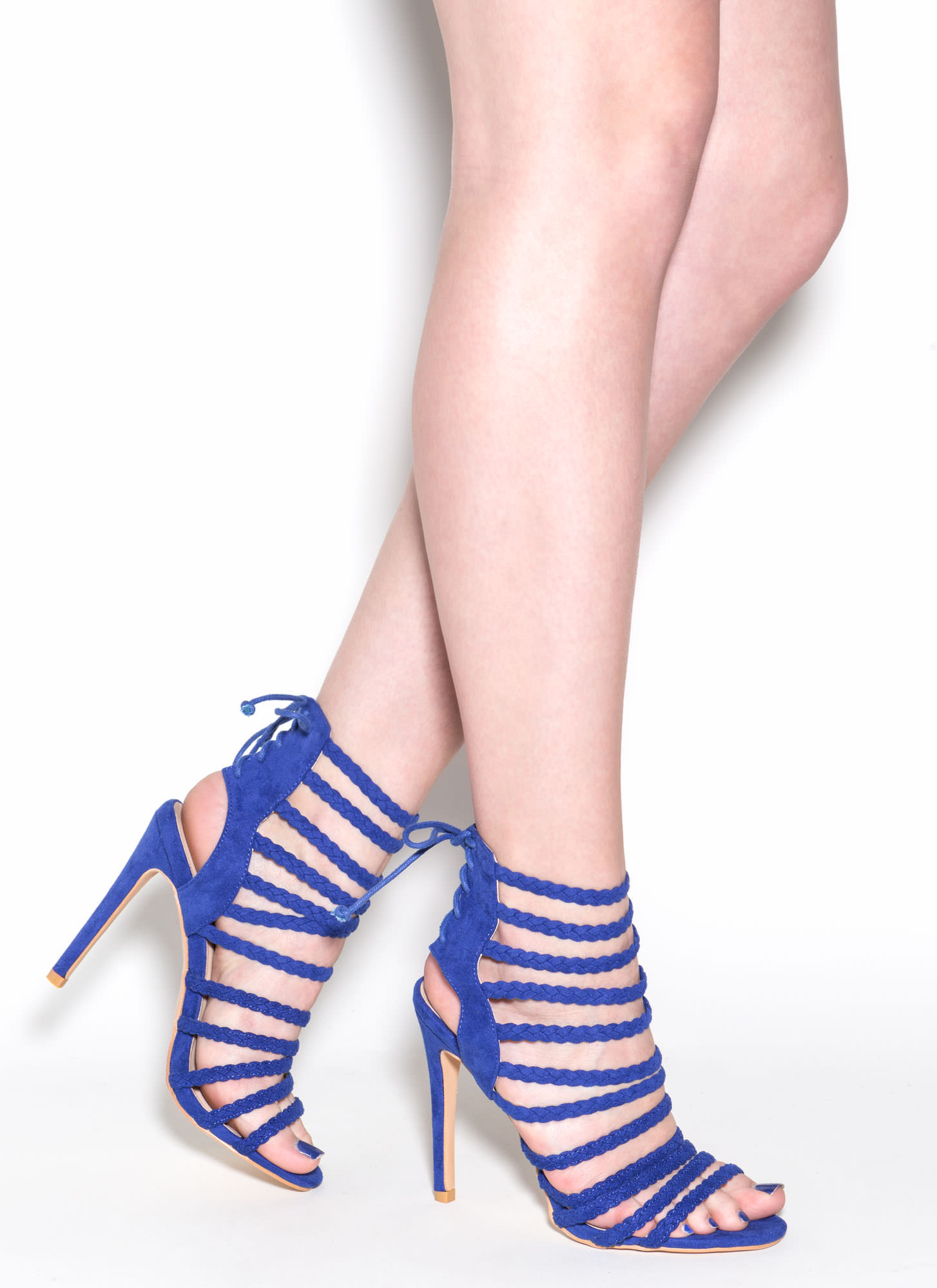 Set To Stun Lace-Up Faux Suede Heels BLUE