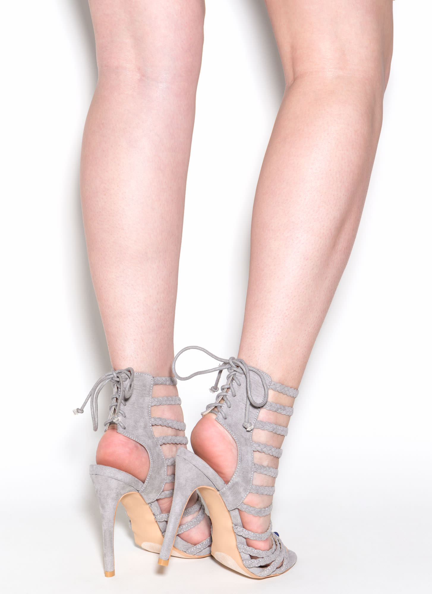 Set To Stun Lace-Up Faux Suede Heels LTGREY