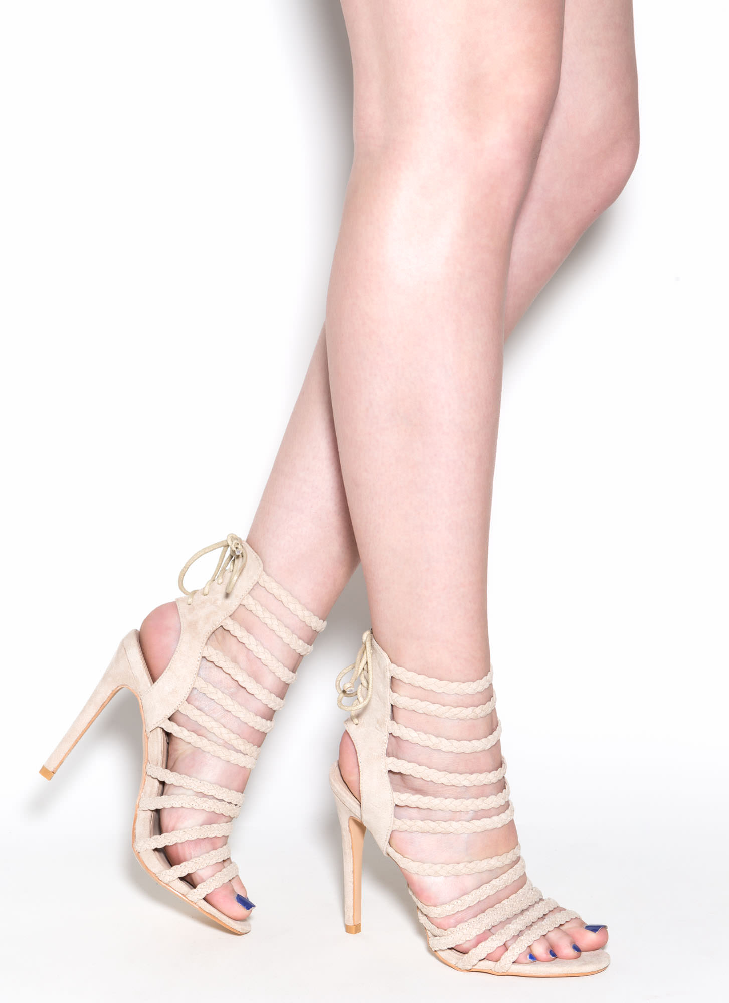 Set To Stun Lace-Up Faux Suede Heels NUDE