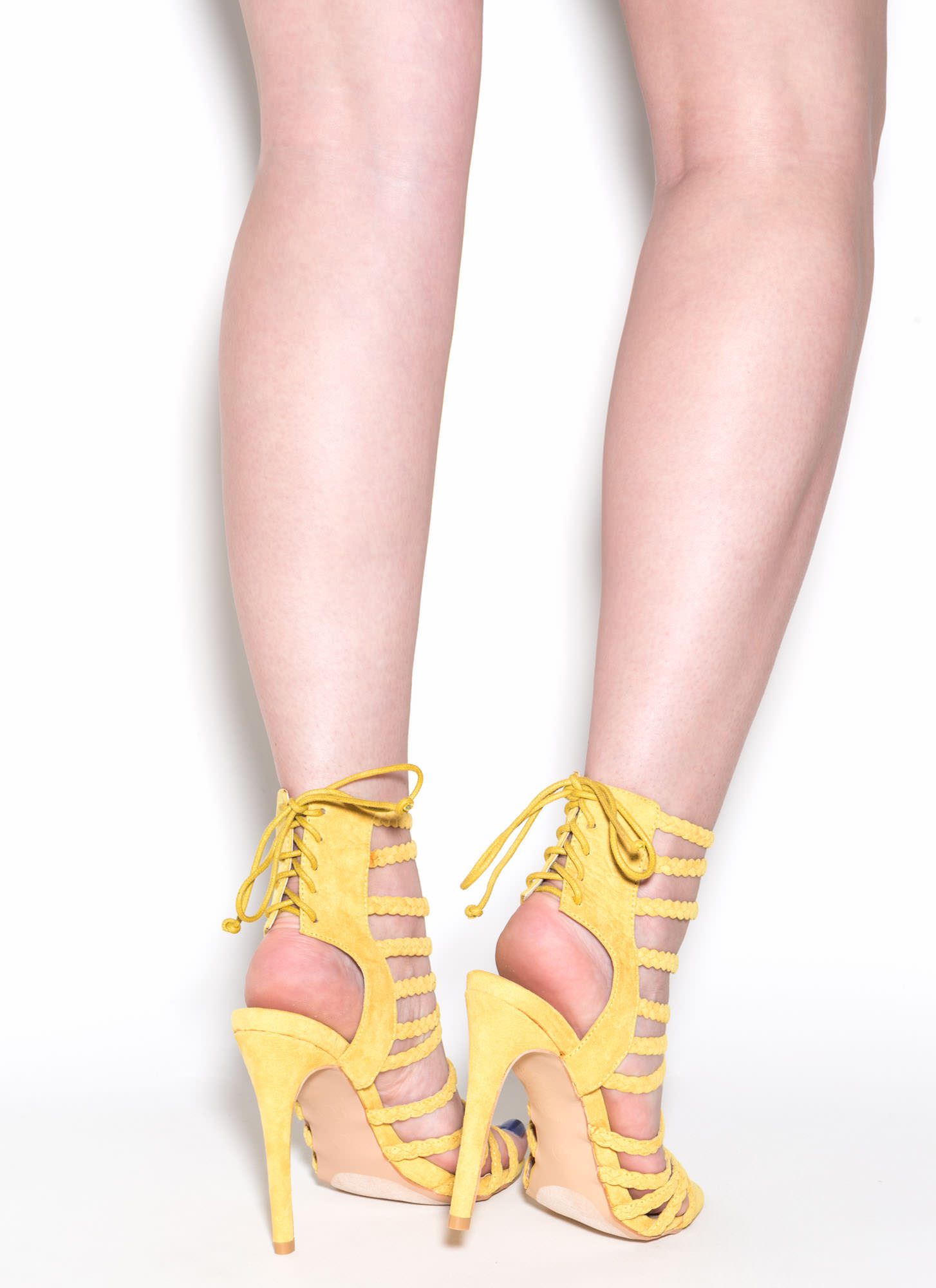 Set To Stun Lace-Up Faux Suede Heels YELLOW