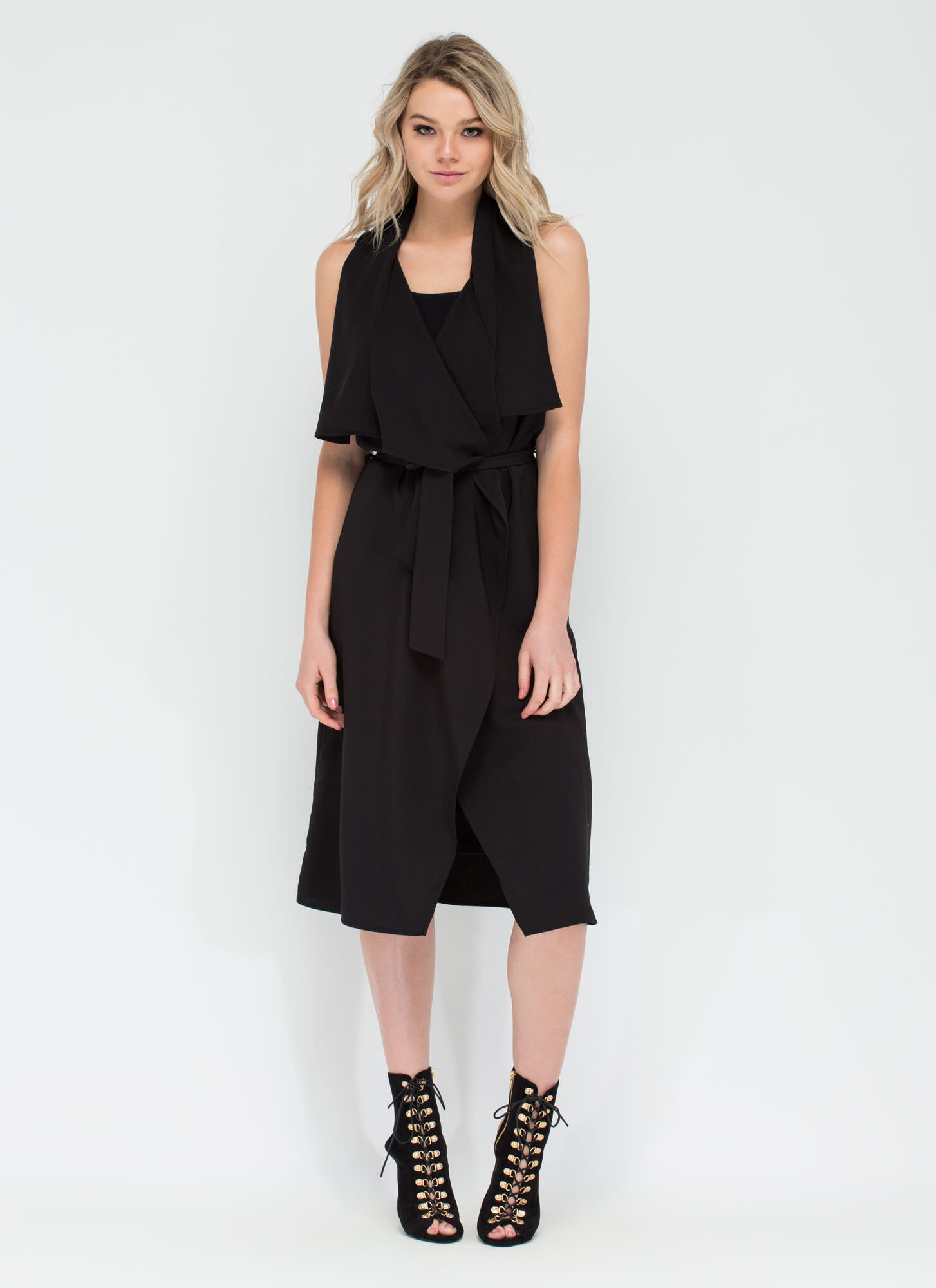 Flowing Flyaway Sleeveless Jacket BLACK